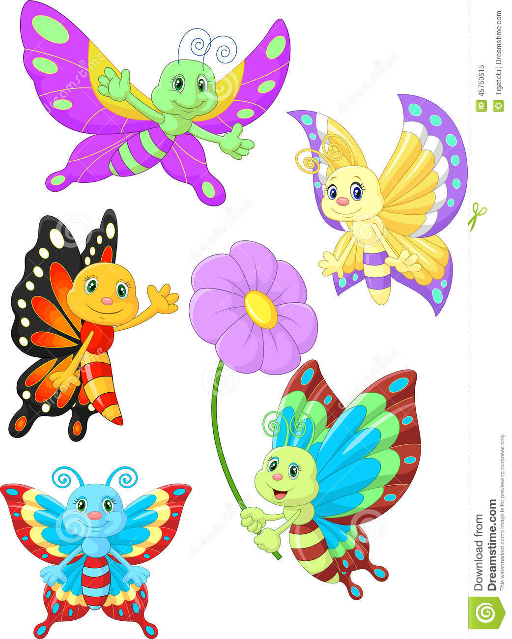 cute butterfly cartoon collection set stock vector image