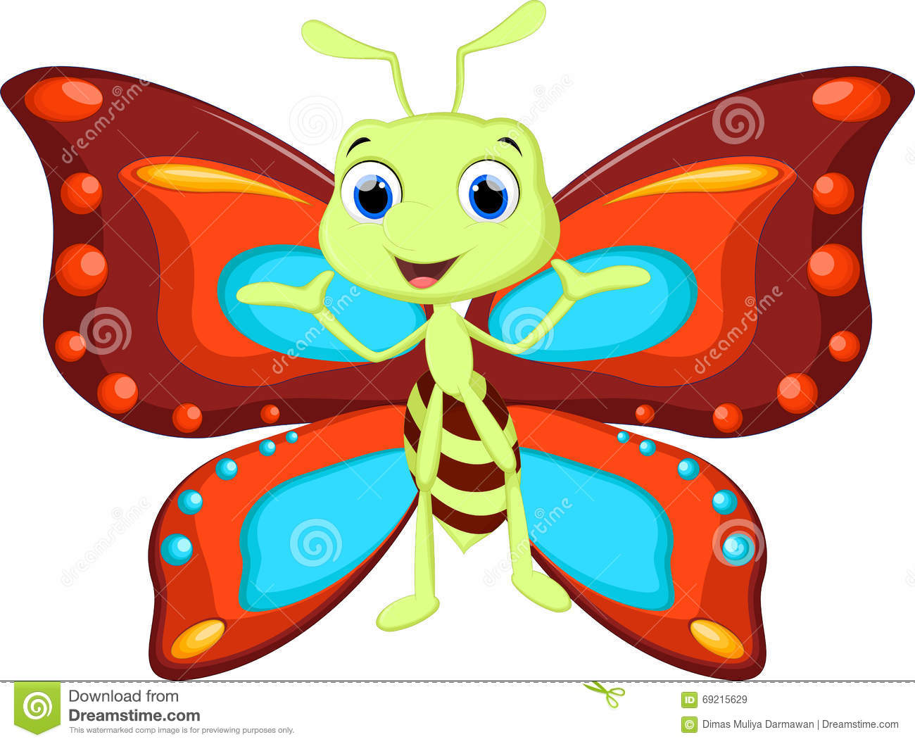 cute butterfly cartoon stock illustration image 69215629