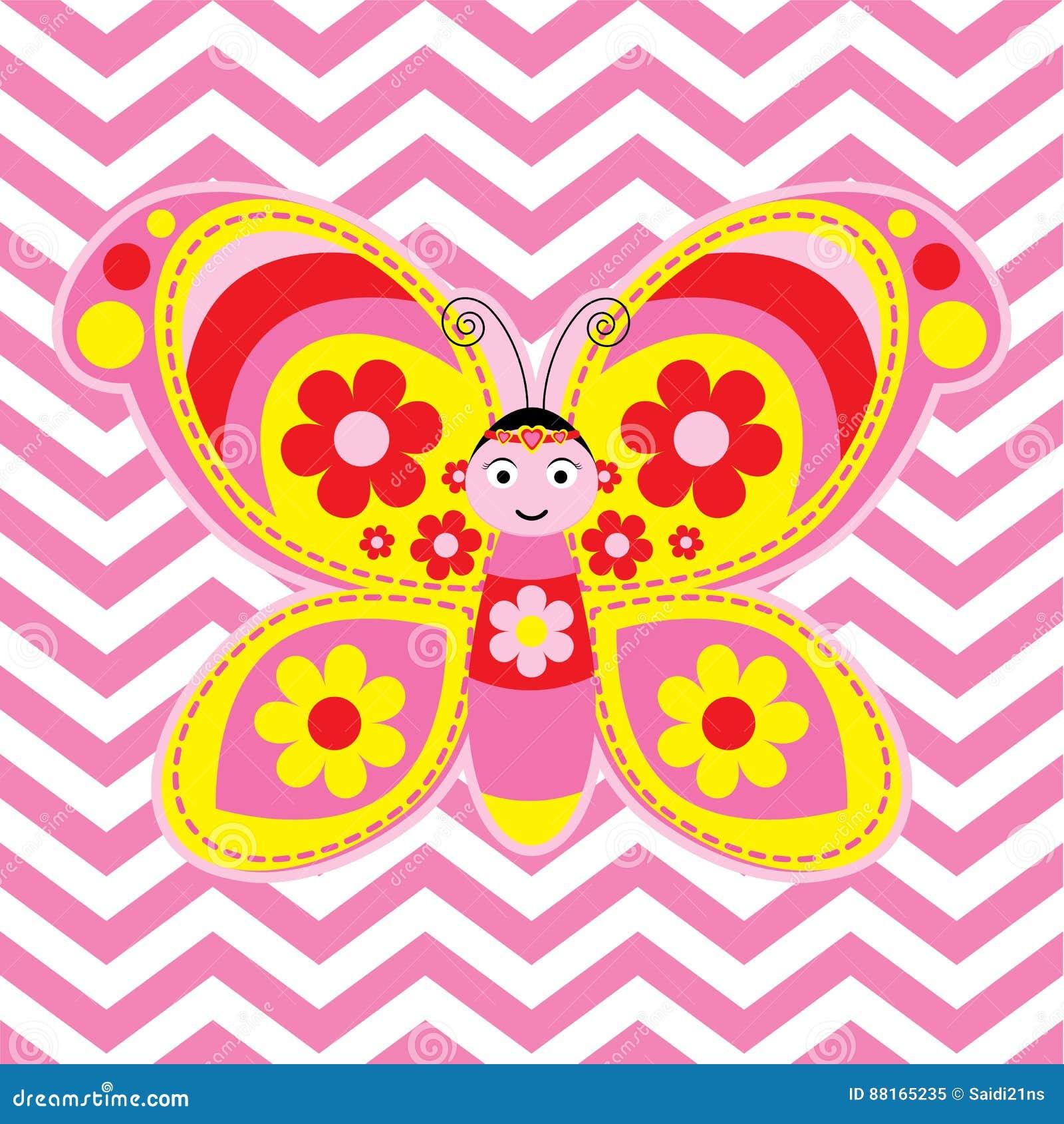 Cute Butterfly On Chevron Backgr Stock Vector - Illustration of kids ...