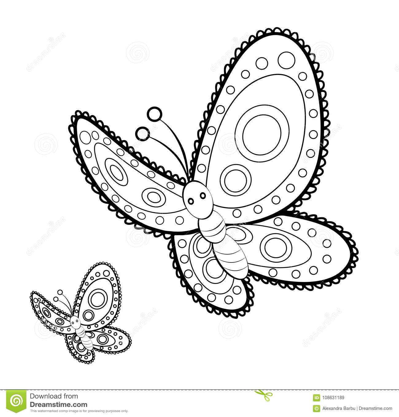 Butterfly Mandala Adult Anti Stress Coloring Page Stock Vector