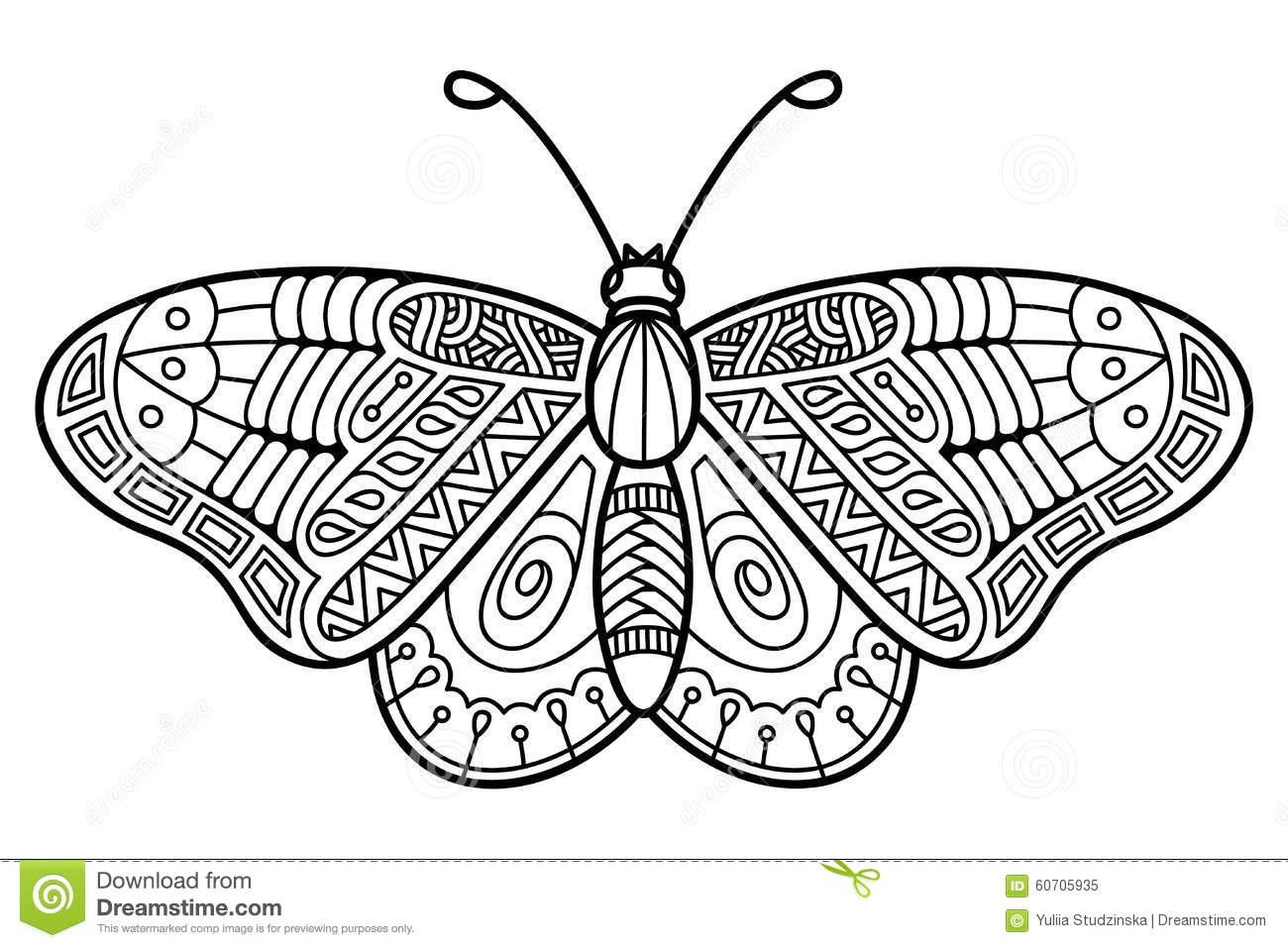 Vector Illustration Of Cute Ornate Zentangle Butterfly For Children Or Adult Anti Stress Coloring Book