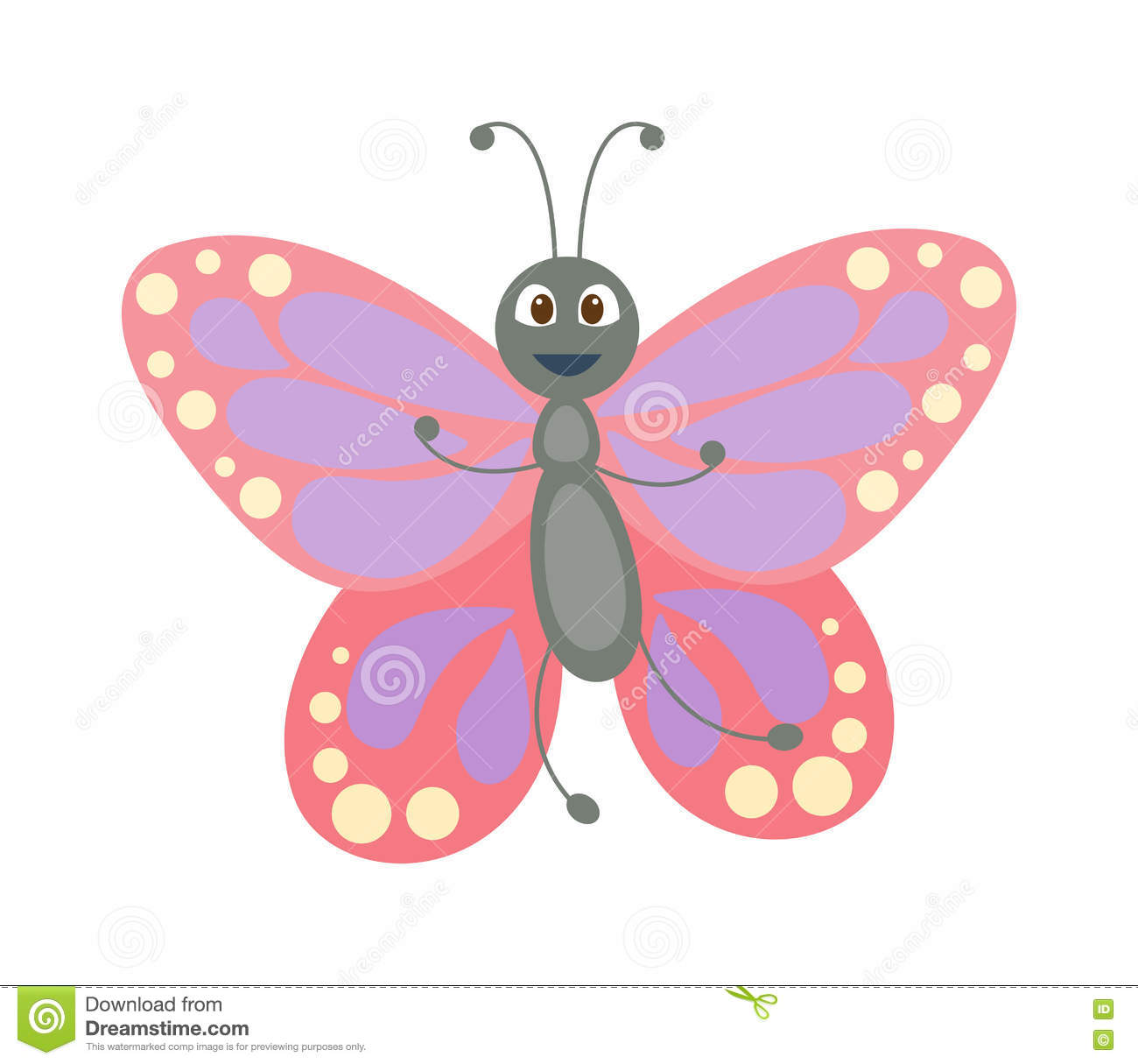 cute butterfly vector on white stock vector image 75005160