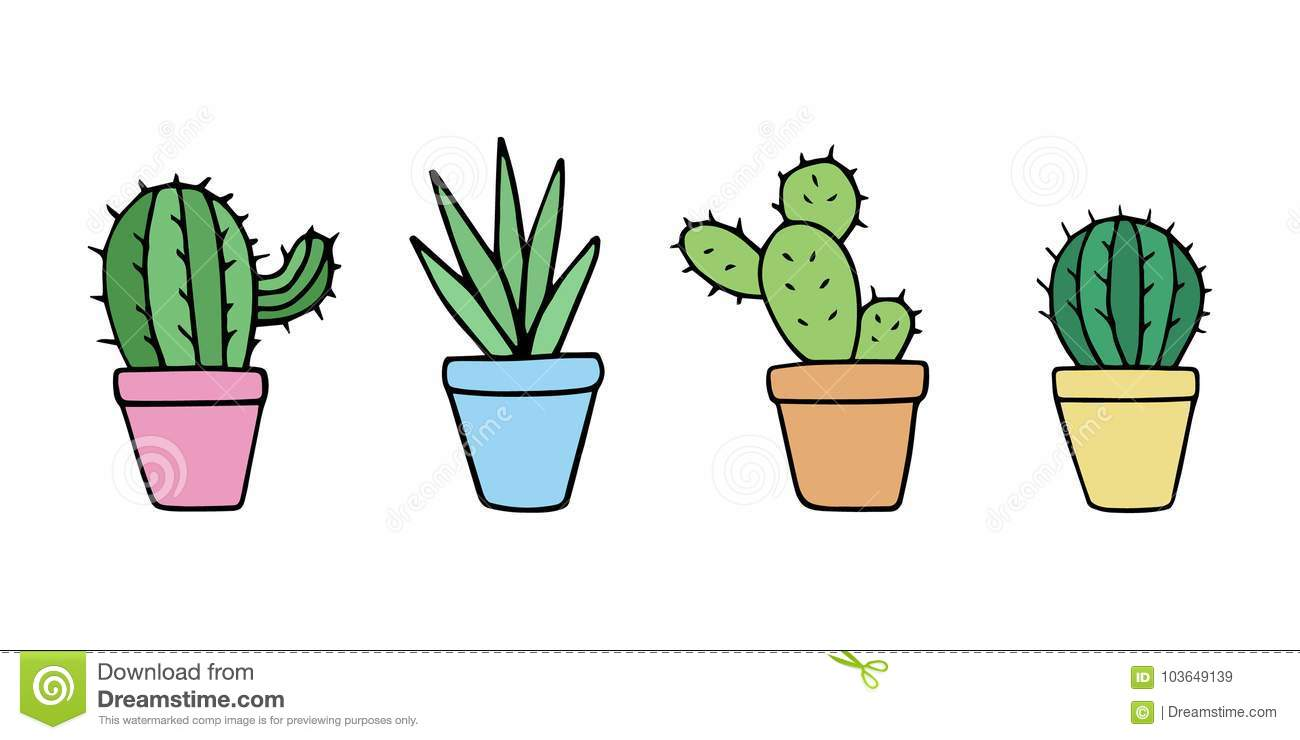 Cute Cactus In Pot Set Stock Vector Illustration Of Prickle 103649139