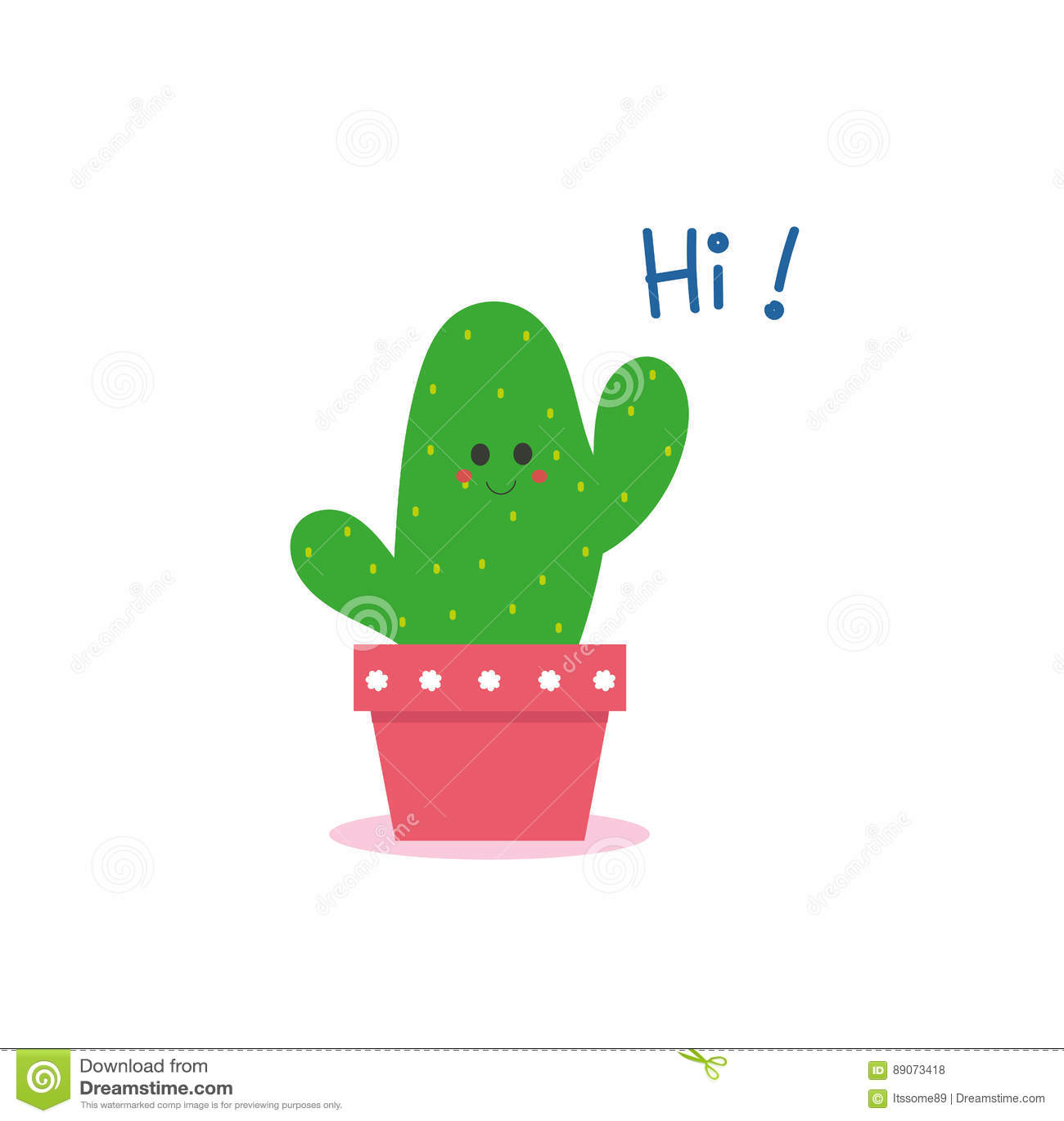cute cactus say hi stock illustration illustration of fresh 89073418