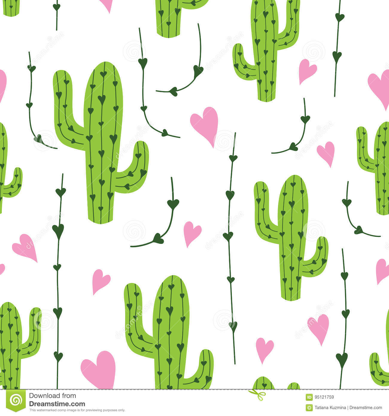 Cute cactus seamless pattern with hearts in green, pink and white colors. Natural vector background
