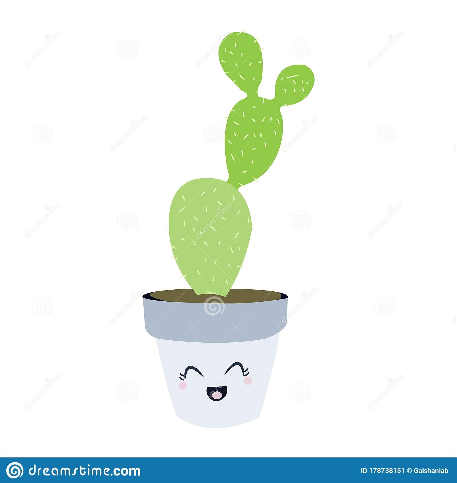 Cute Cactus Succulent Clip Art Illustration Botanical Cartoon Stock Vector Illustration Of White Cartoon 178738151