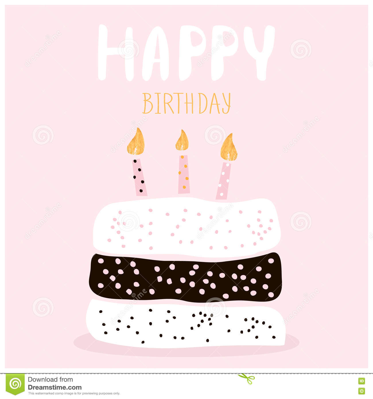 Happy Birthday Cake Greeting Card Vector Image 46551076 – Birthday Cake Card Template