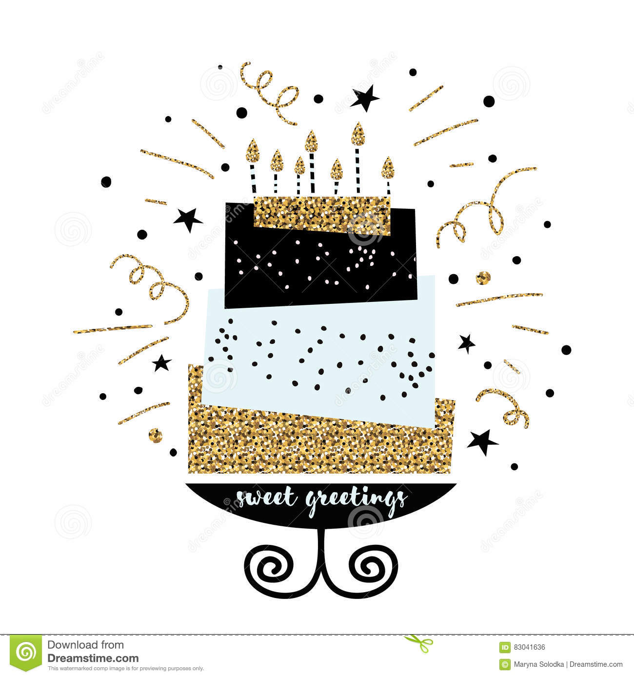 cute cake with happy birthday wish modern greeting card template creative happy birthday. Black Bedroom Furniture Sets. Home Design Ideas