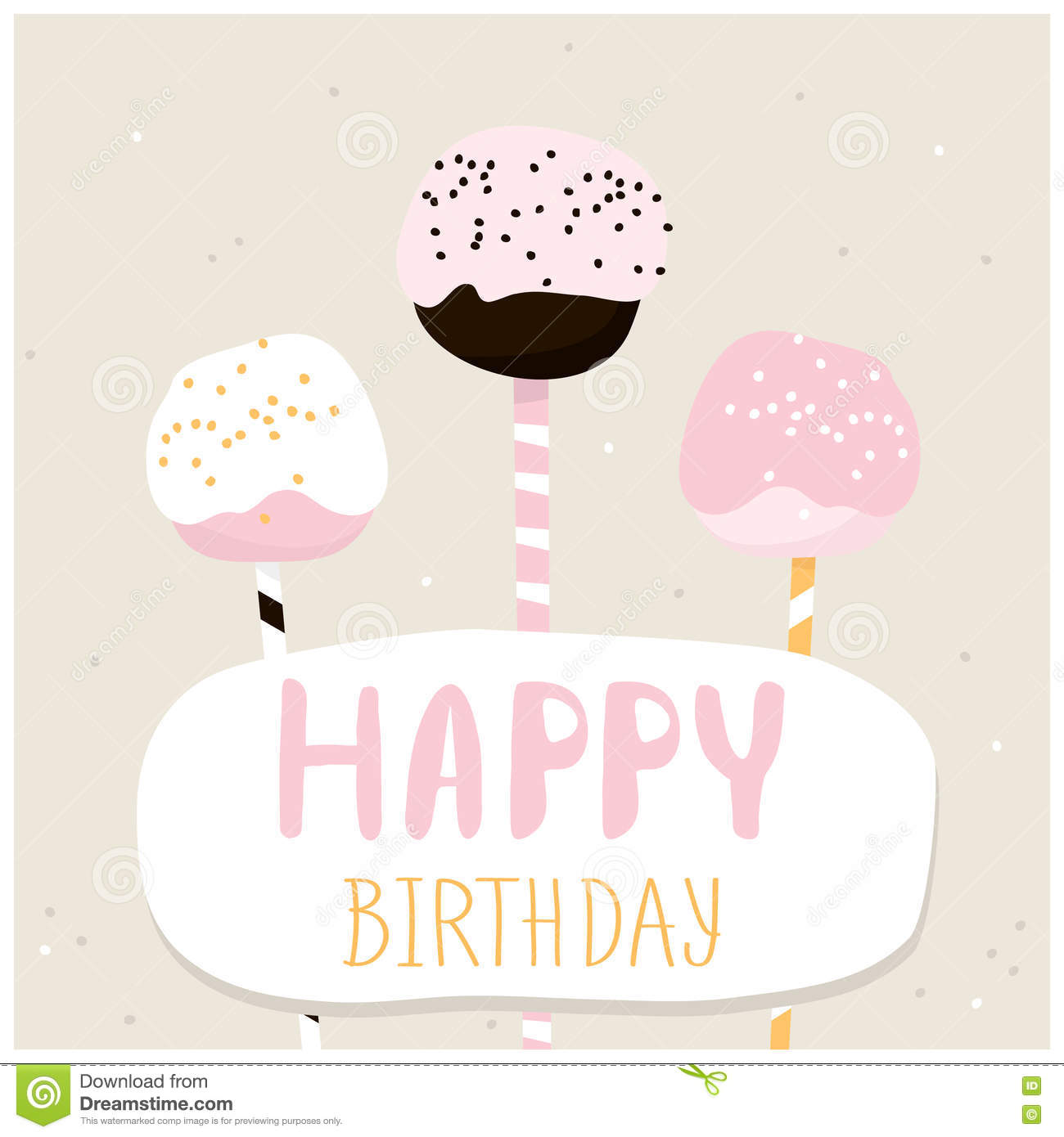cute cake pops with happy birthday wish. greeting card template