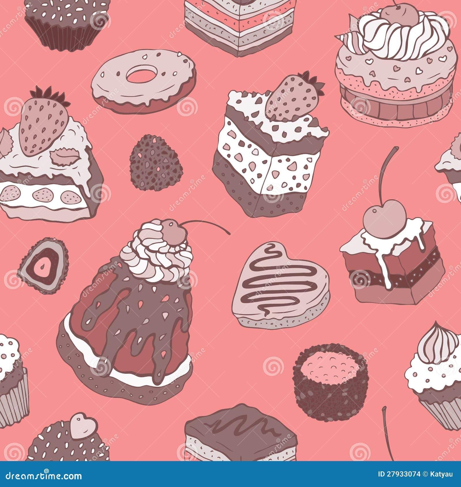 Cute Cake Seamless Background Stock Illustration