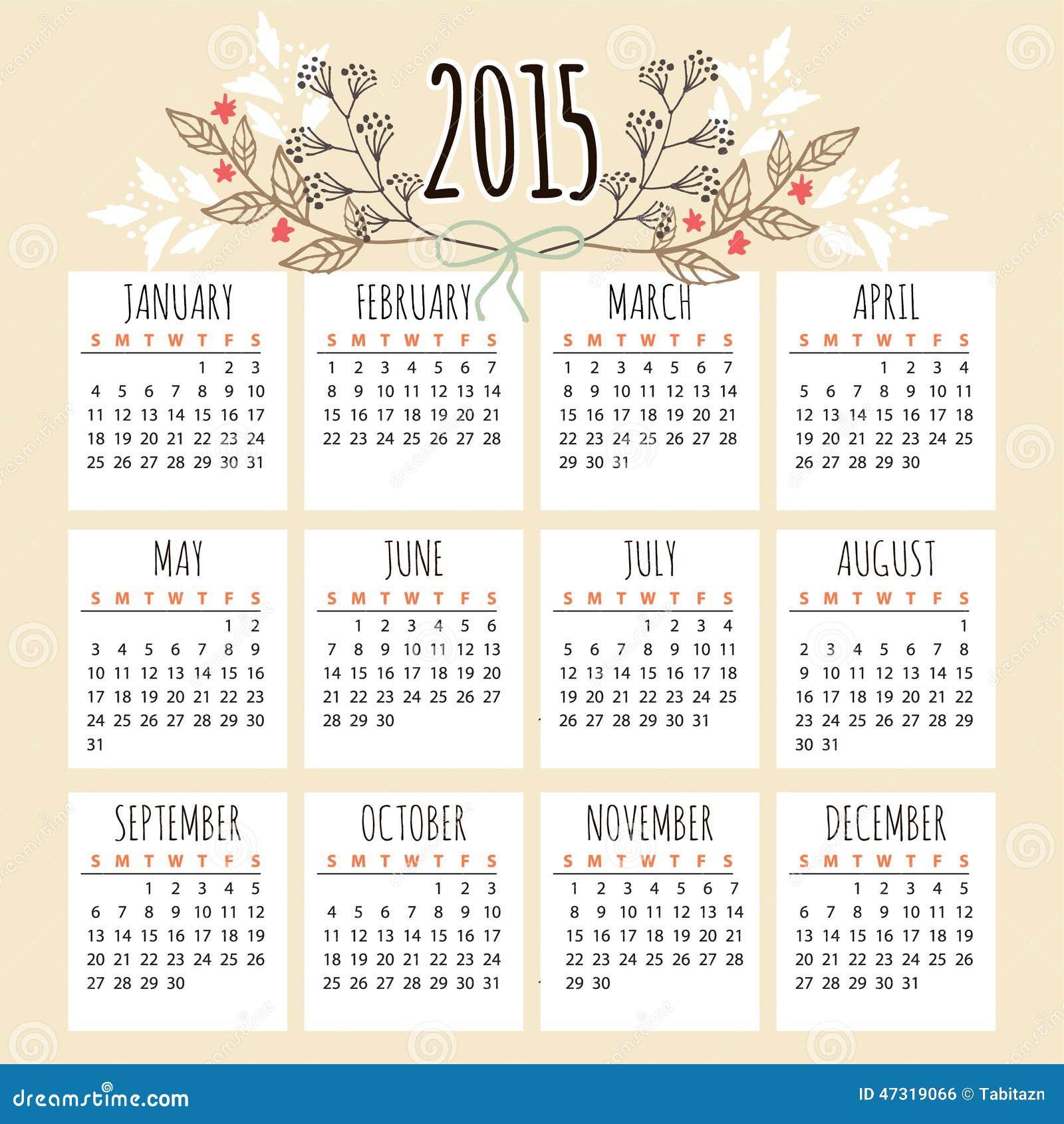 Cute Calendar Illustration : Cute calendar with floral elements stock vector