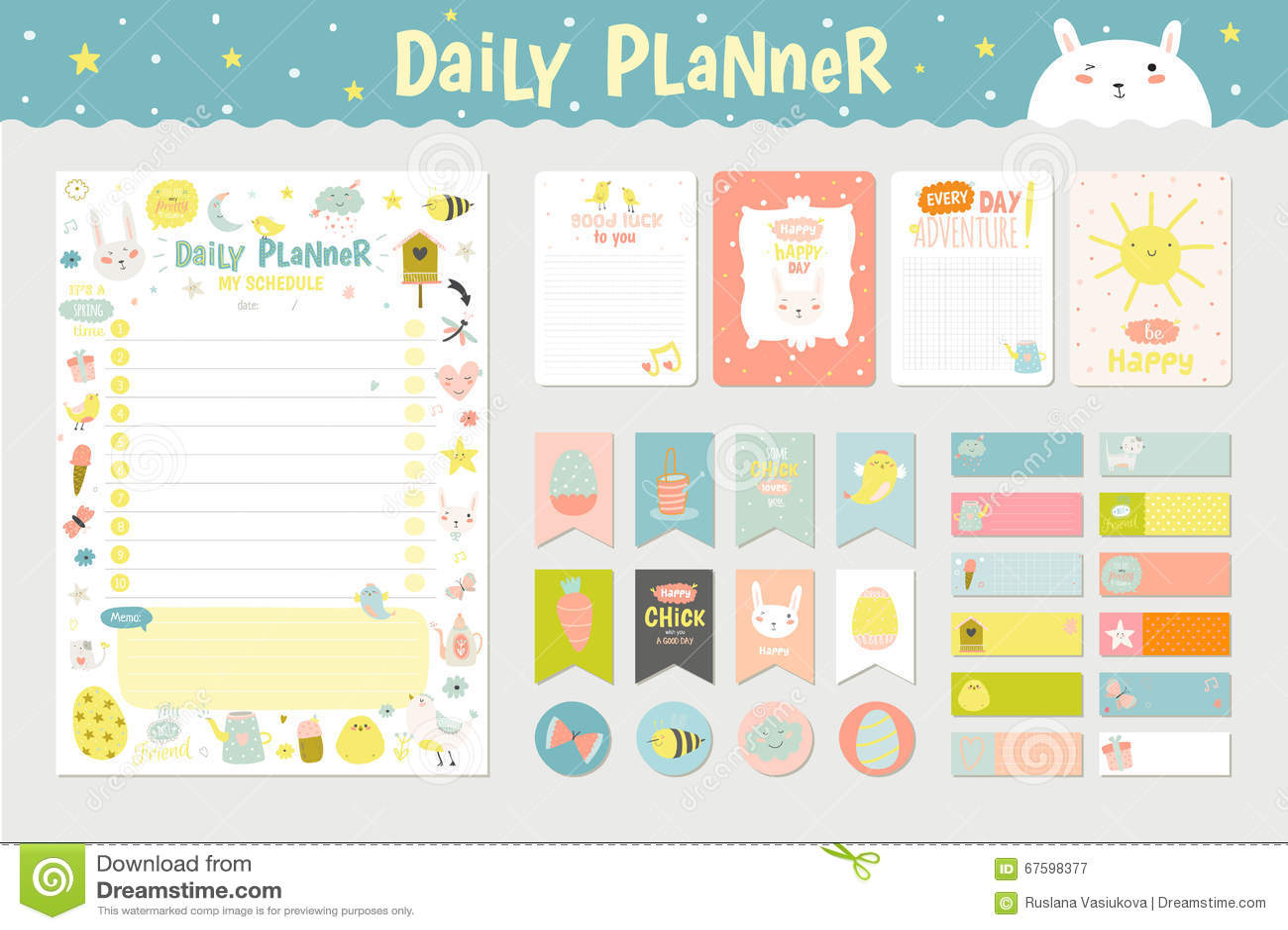 Calendar Planner Vector Free : Cute calendar daily planner stock vector image