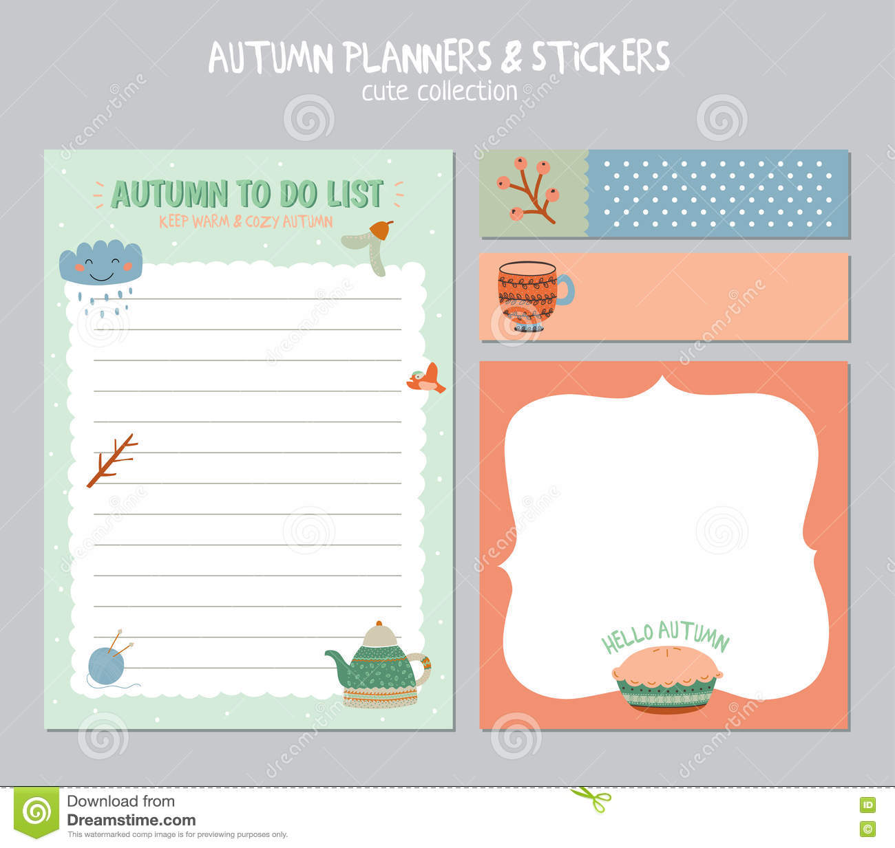 Préférence Cute Daily Calendar And To Do List Template Stock Vector - Image  RK99