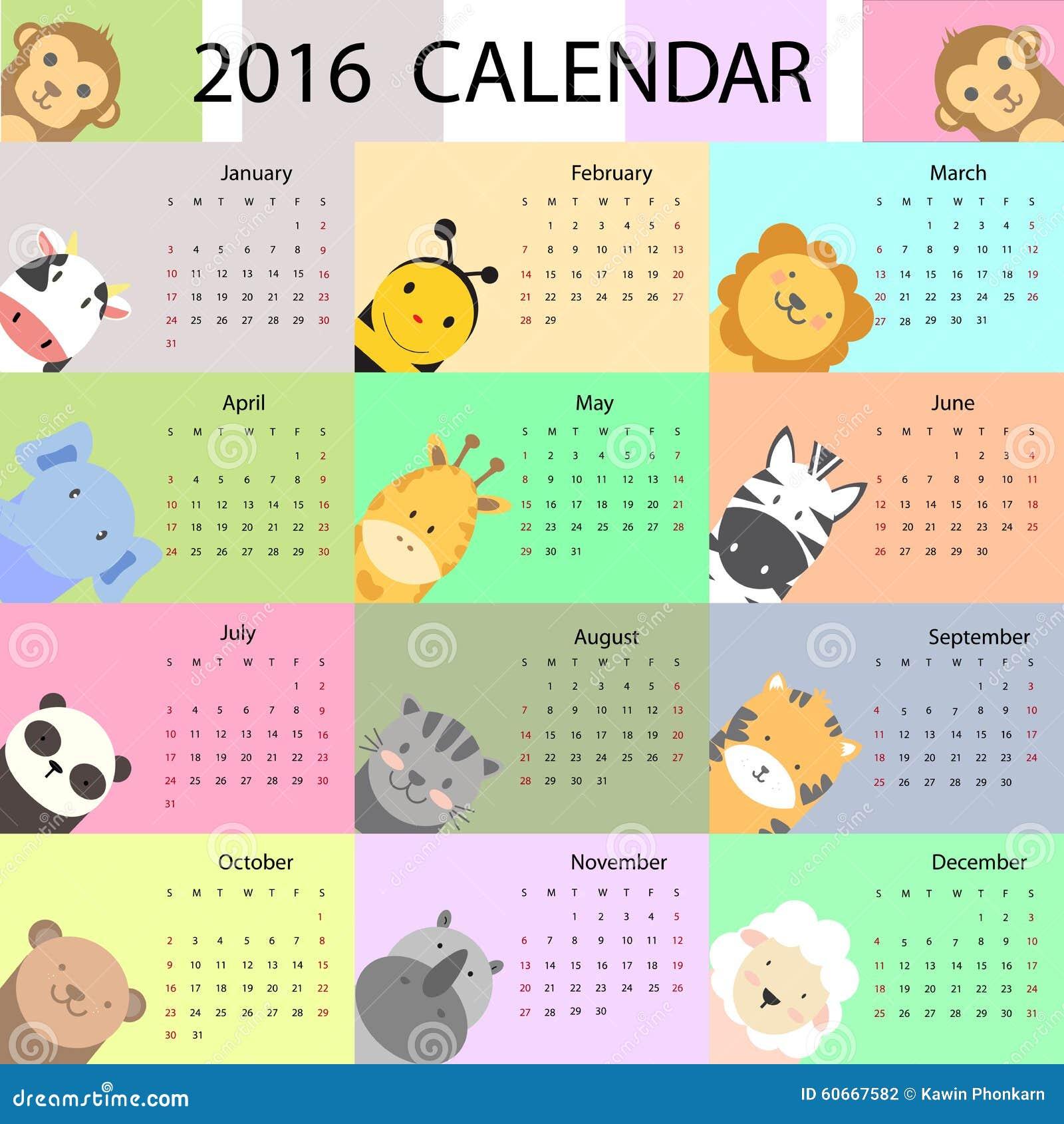 Calendar Design Illustrator : Cute calendar stock vector image