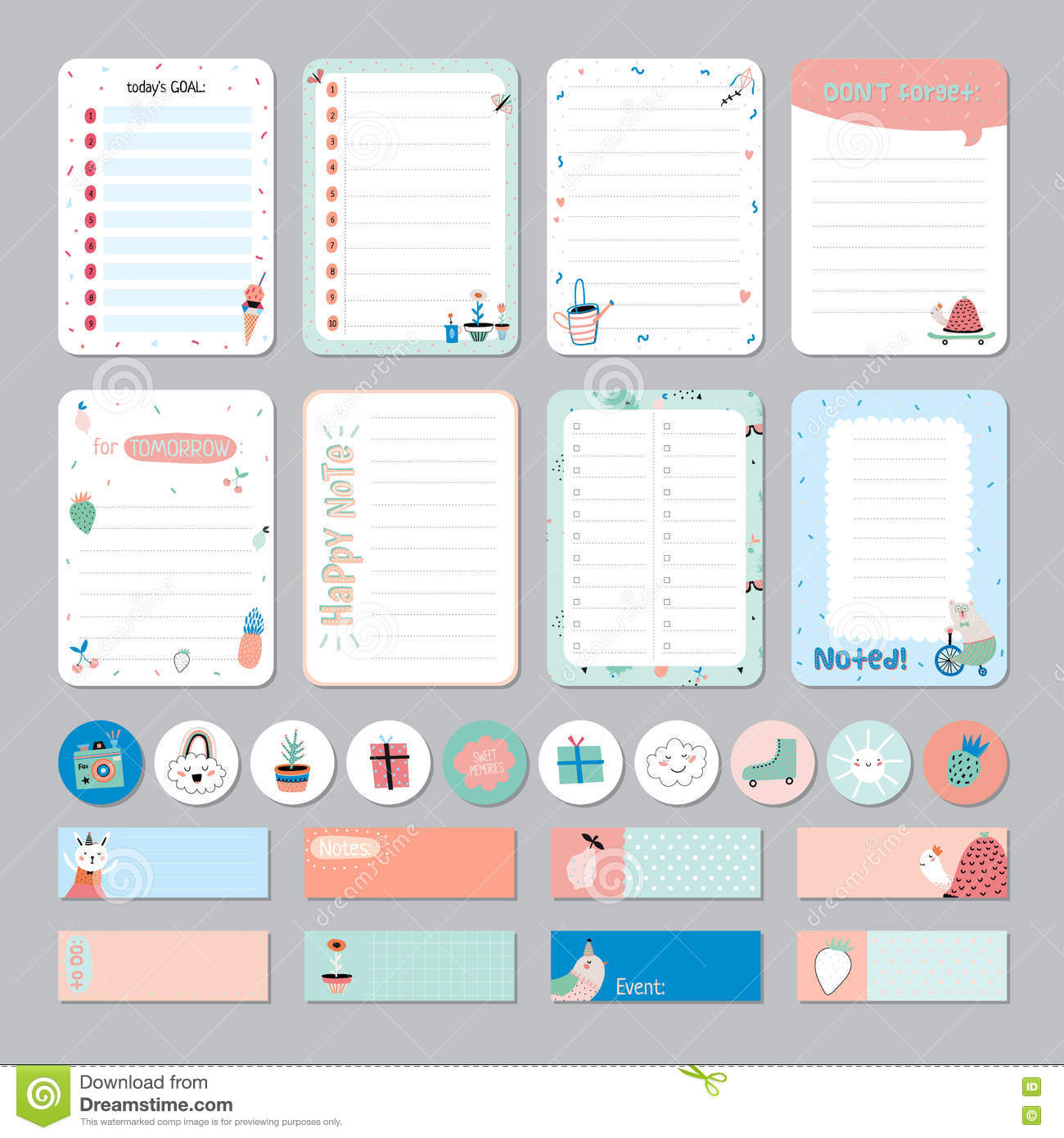 Cute Calendar Daily And Weekly Planner Stock Vector - Illustration ... for Planner Stickers Template  157uhy
