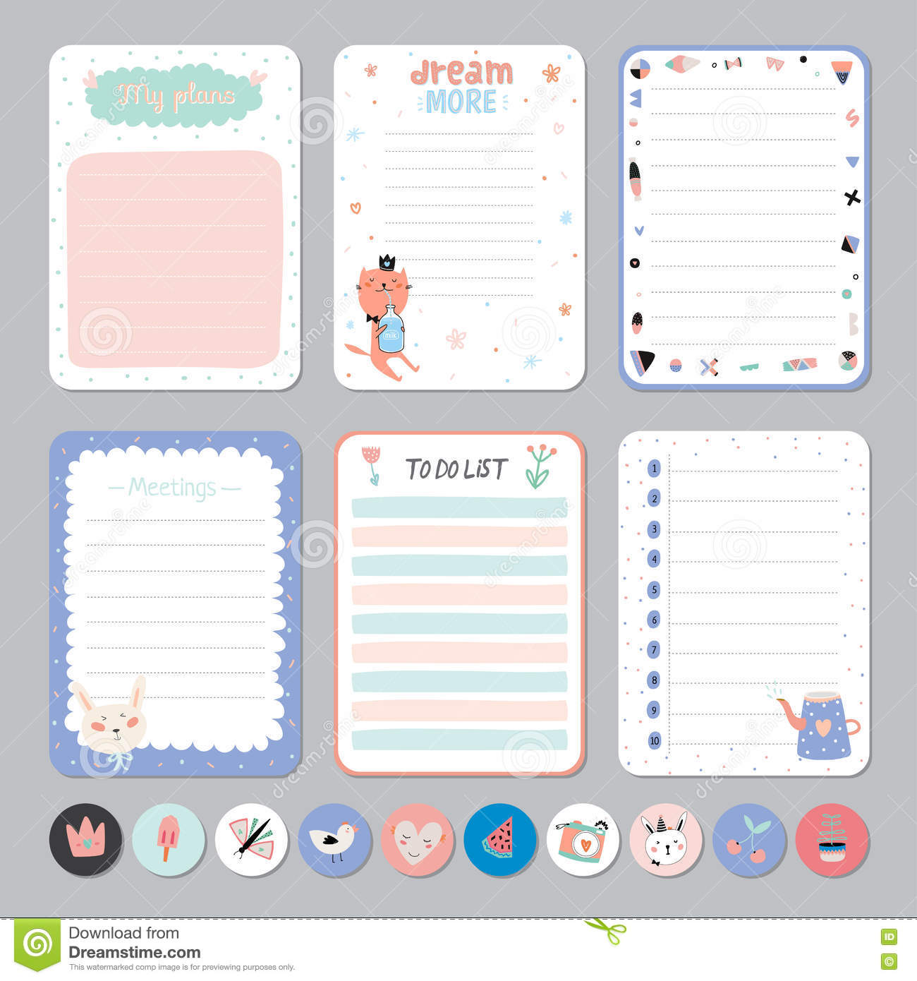 photo about Cute Weekly Planners identify Lovable Calendar Each day And Weekly Planner Inventory Vector