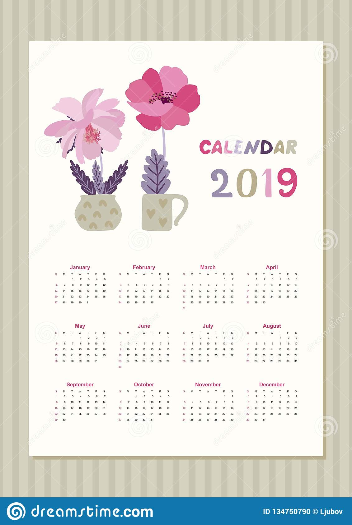 cute calendar for 2019 year with pink flowers  week starts
