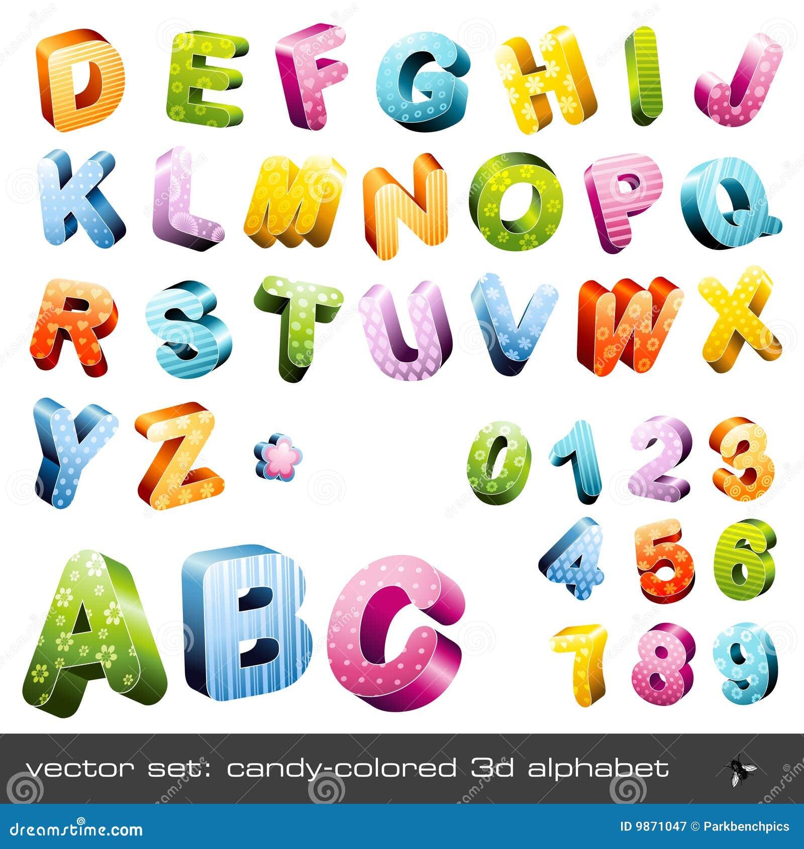 Cute Alphabet Letters Cute candy-colored 3d alphabet