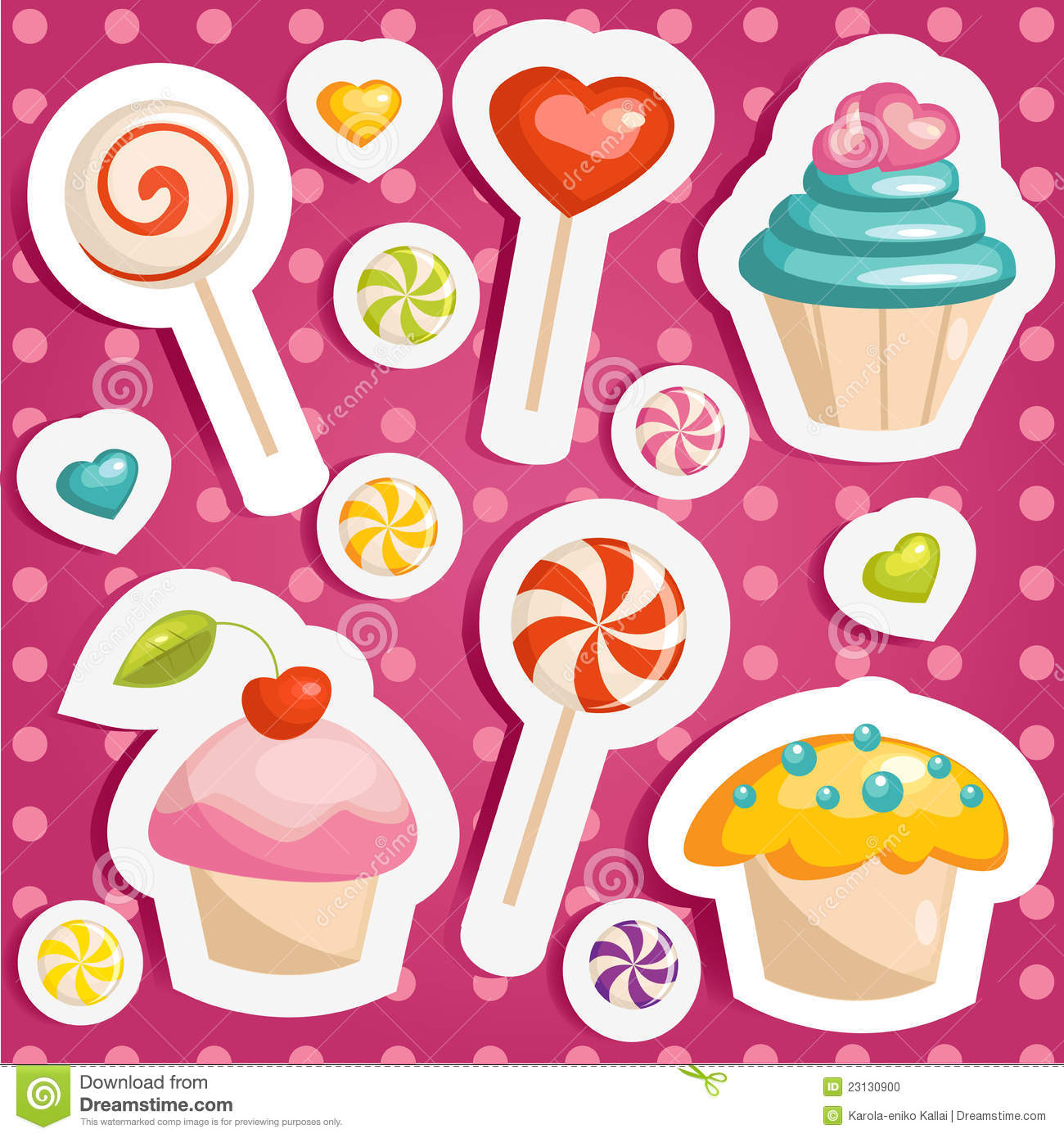 Cute candy stickers stock vector. Illustration of pattern ...