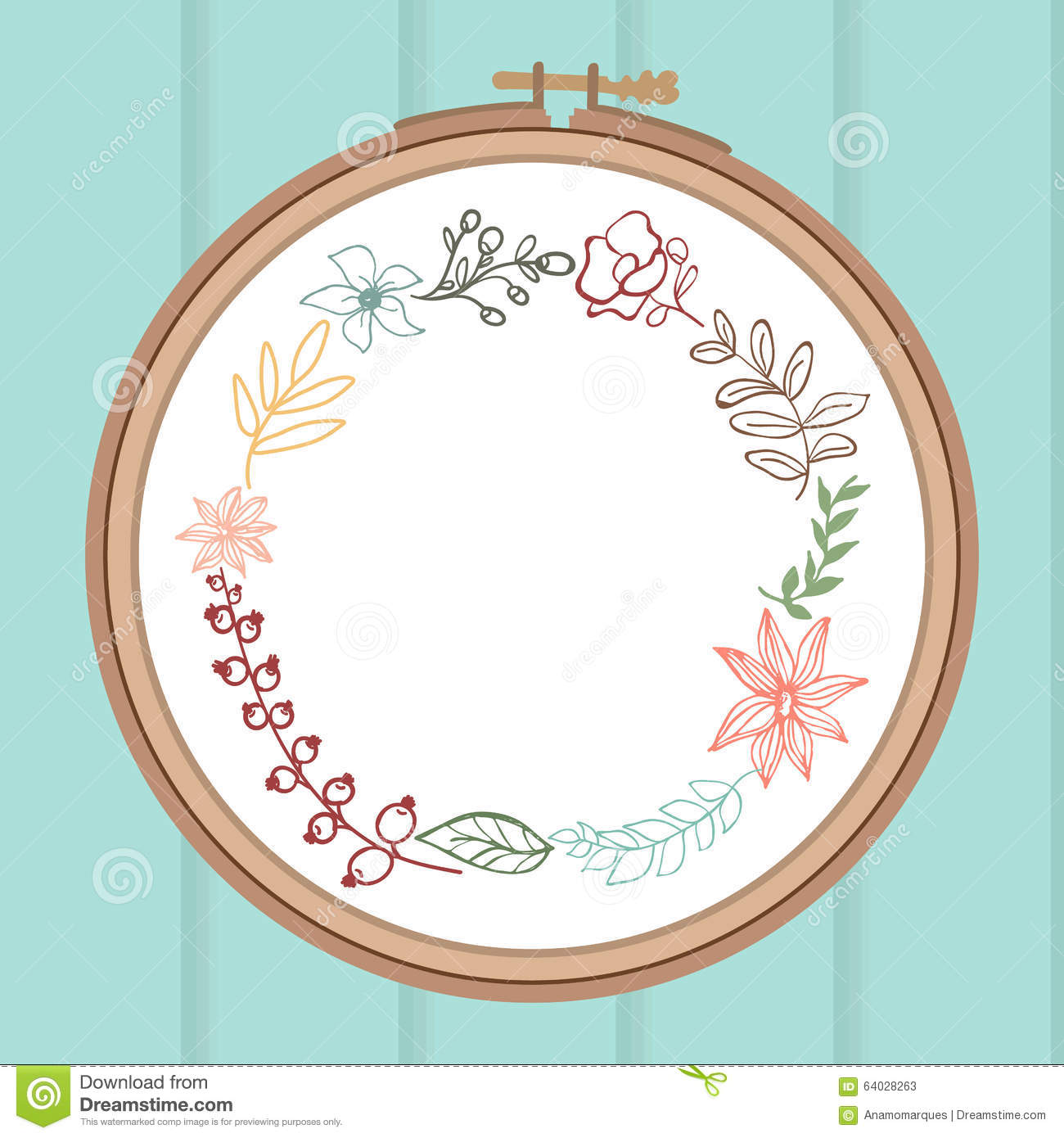 Cute Card With Laurel Flower Bouquet On Embroidery Frame. Stock ...