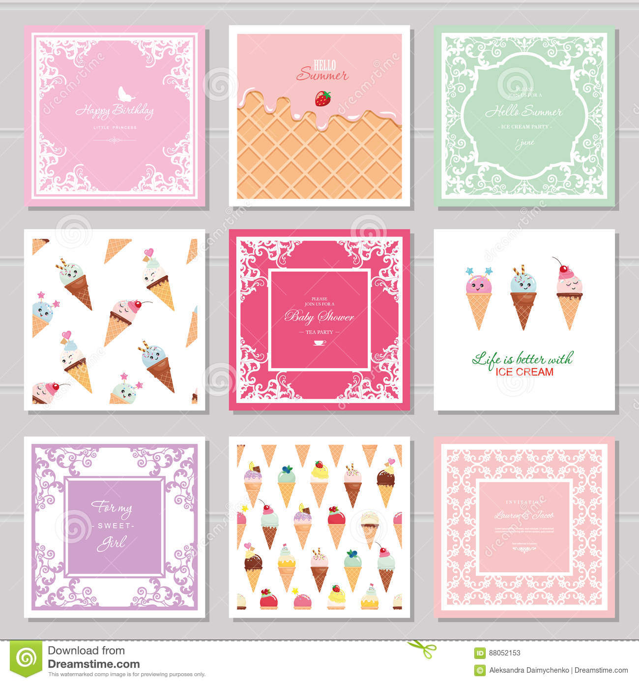Cute Card Templates Set For Girls Including Frames Seamless