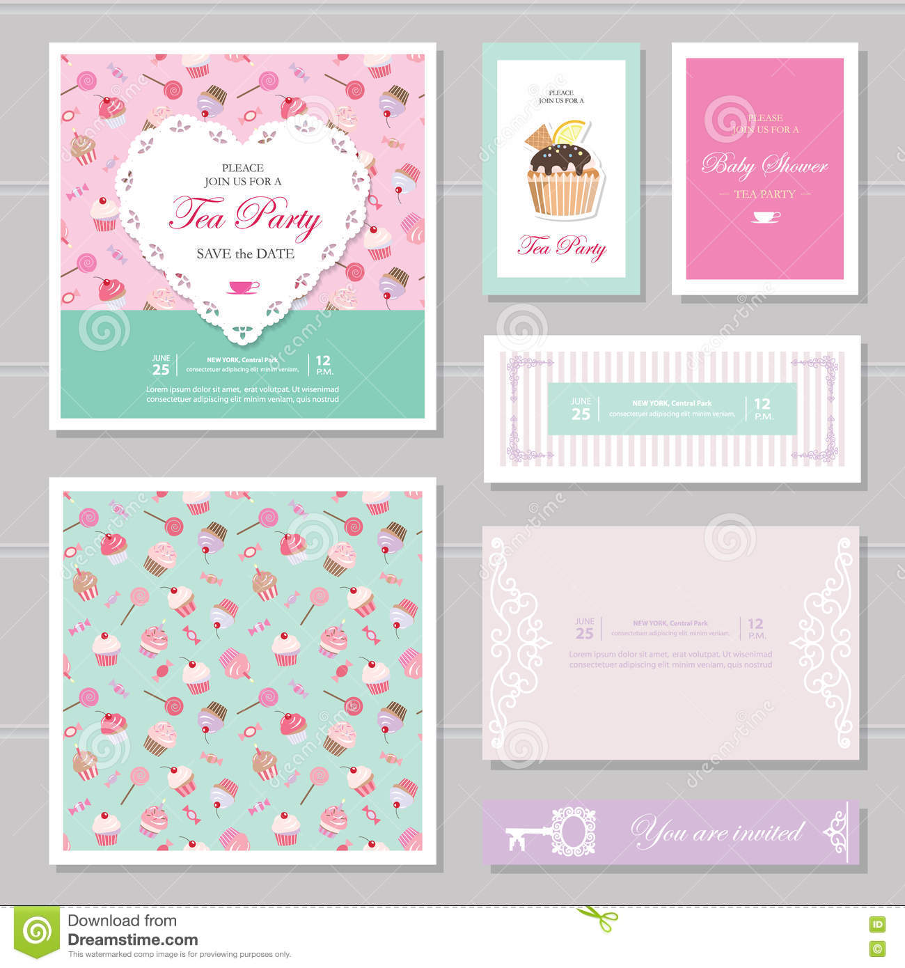 cute card templates set in pastel colors for save the date baby