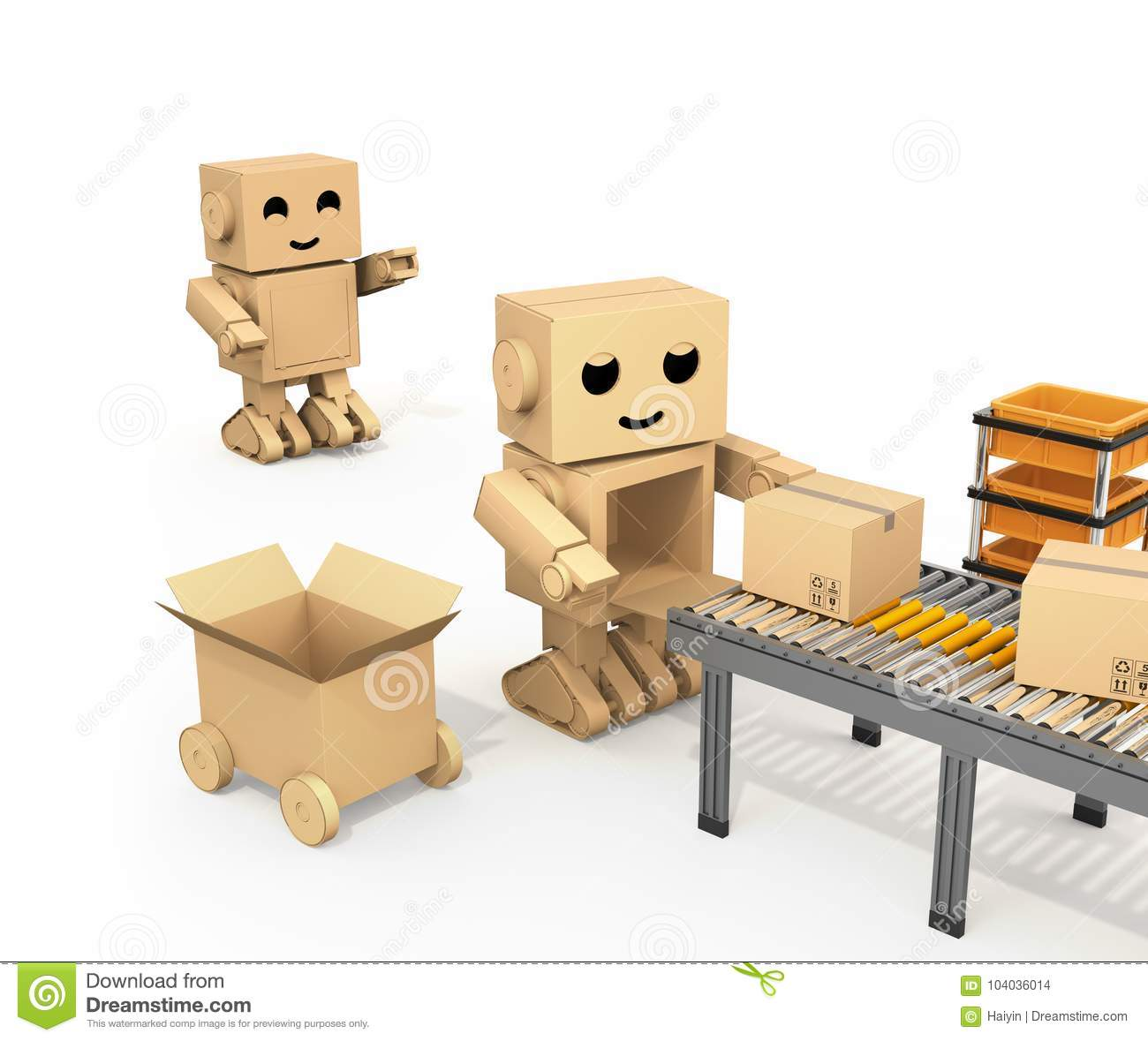 Cute Cardboard Robot Picking Up Cardboard Parcel From ...