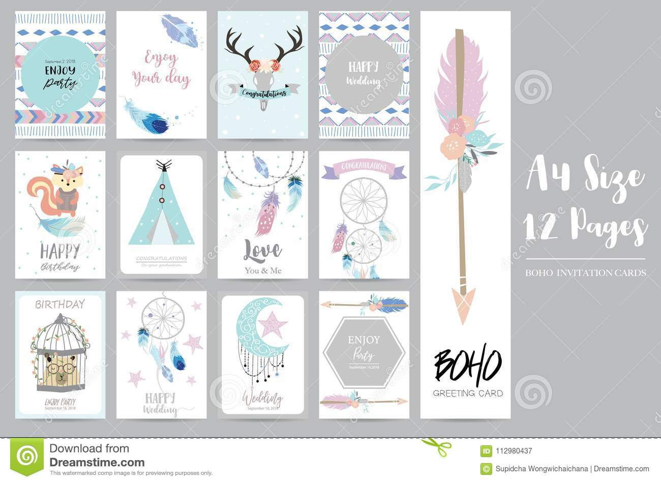 Cute cards for banners,Flyers,Placards with feather,squirrel