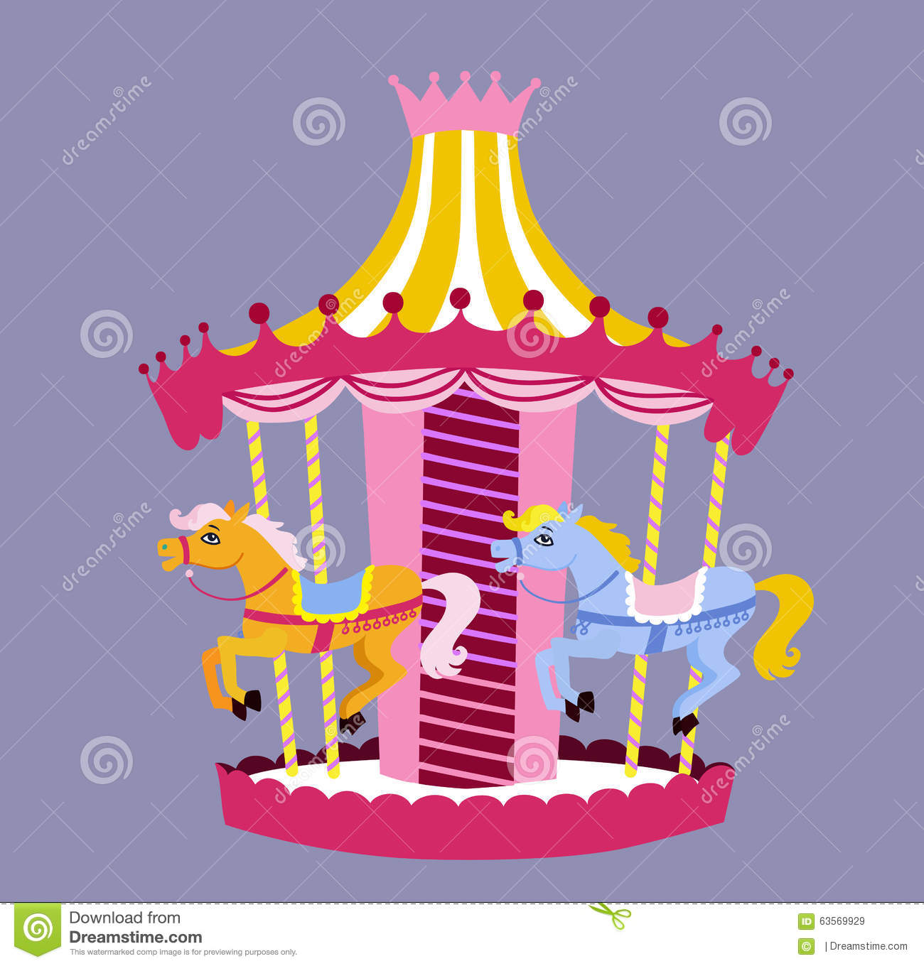 Cute Carousel With Horses. Vector Illustration Stock ...