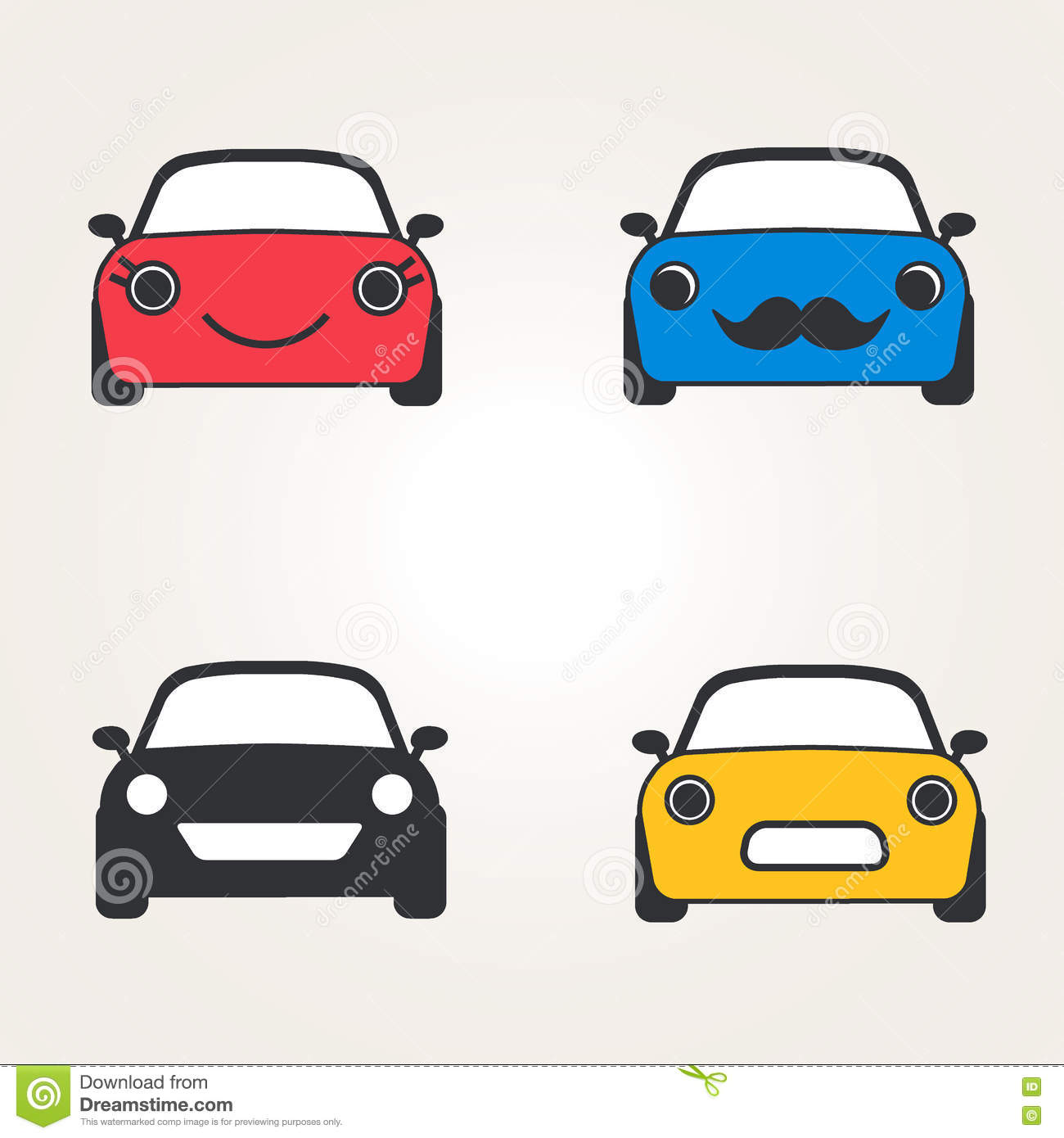 Cute Cars Icons ( Sign ) Front View Set. Automobile