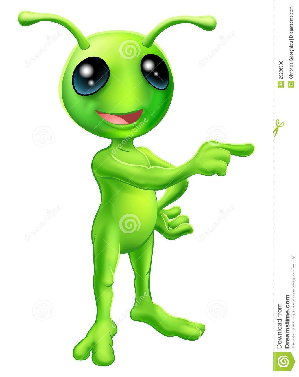 ... of a cute green cartoon alien pointing a finger and showing something