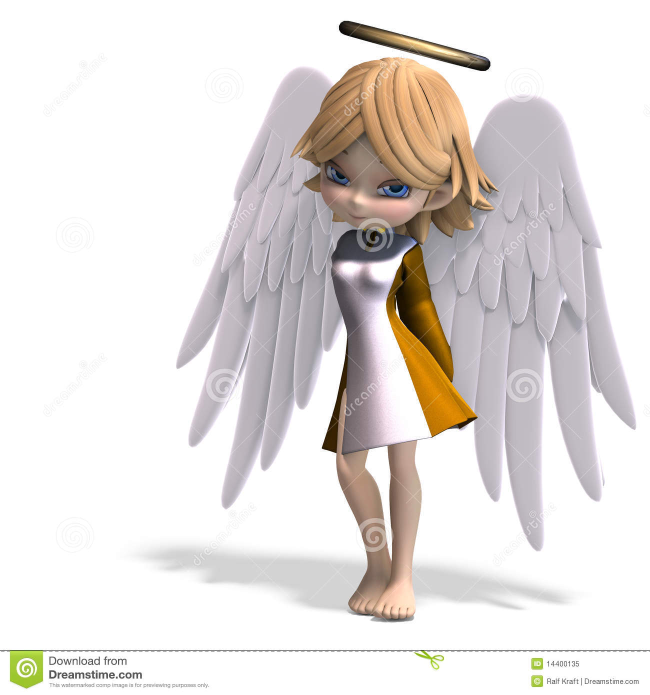 Cute cartoon angel with wings and halo. 3D rendering with clipping ...