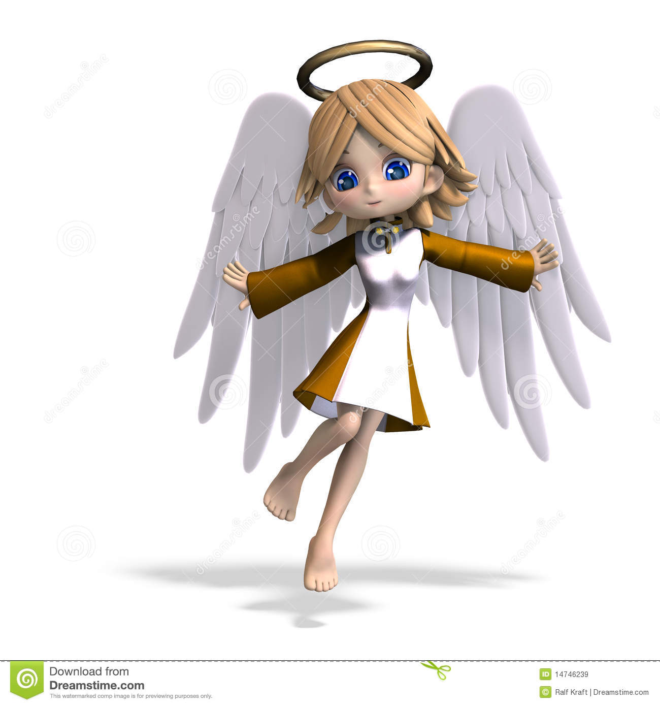 Cute Cartoon Angel With Wings And Halo 3d Stock