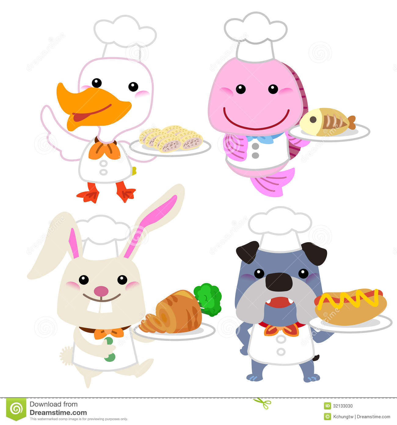 cute cartoon animal cook collection stock photo   image 32133030