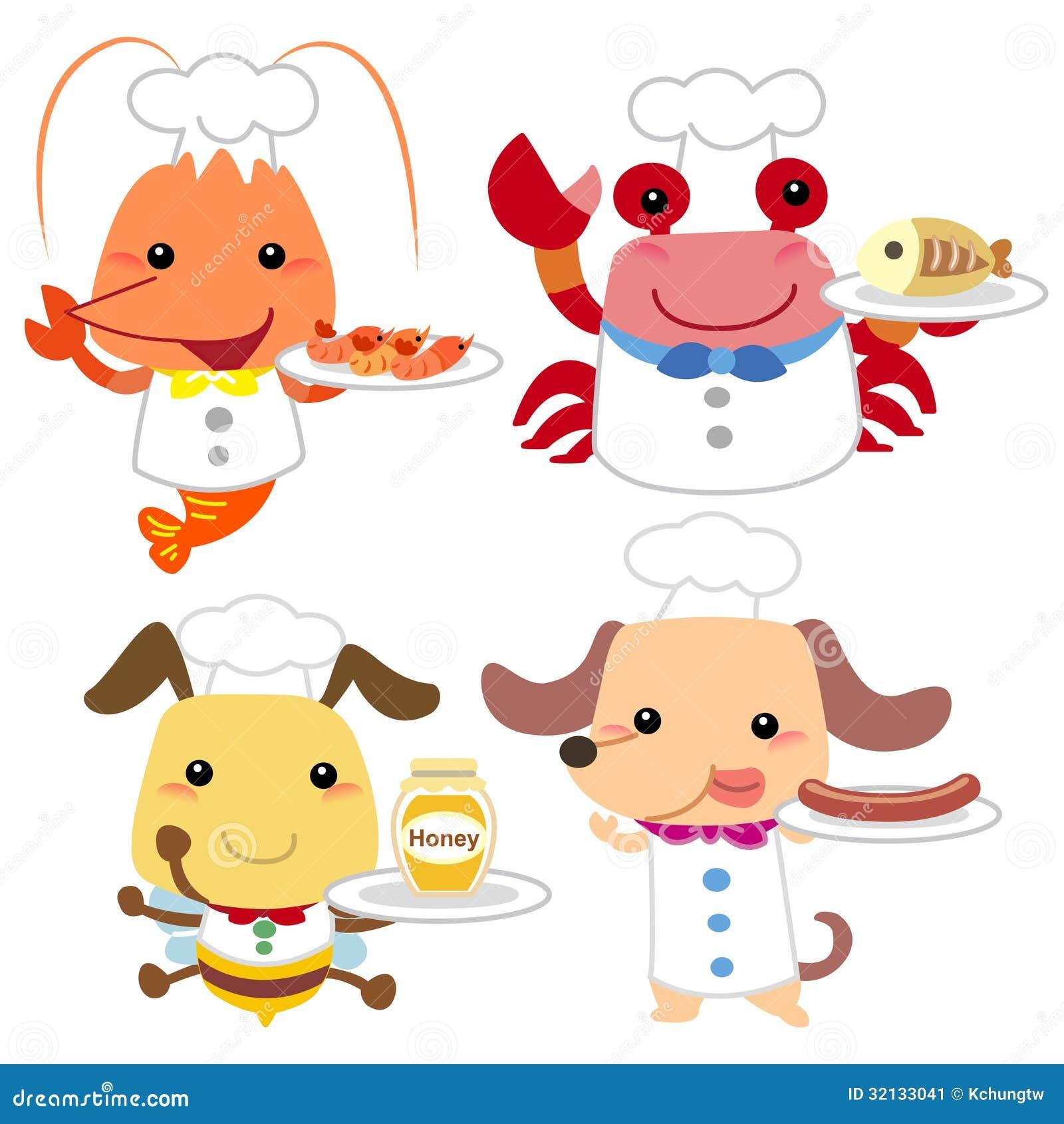 Cute Cartoon Animal Cook Collection Stock Vector