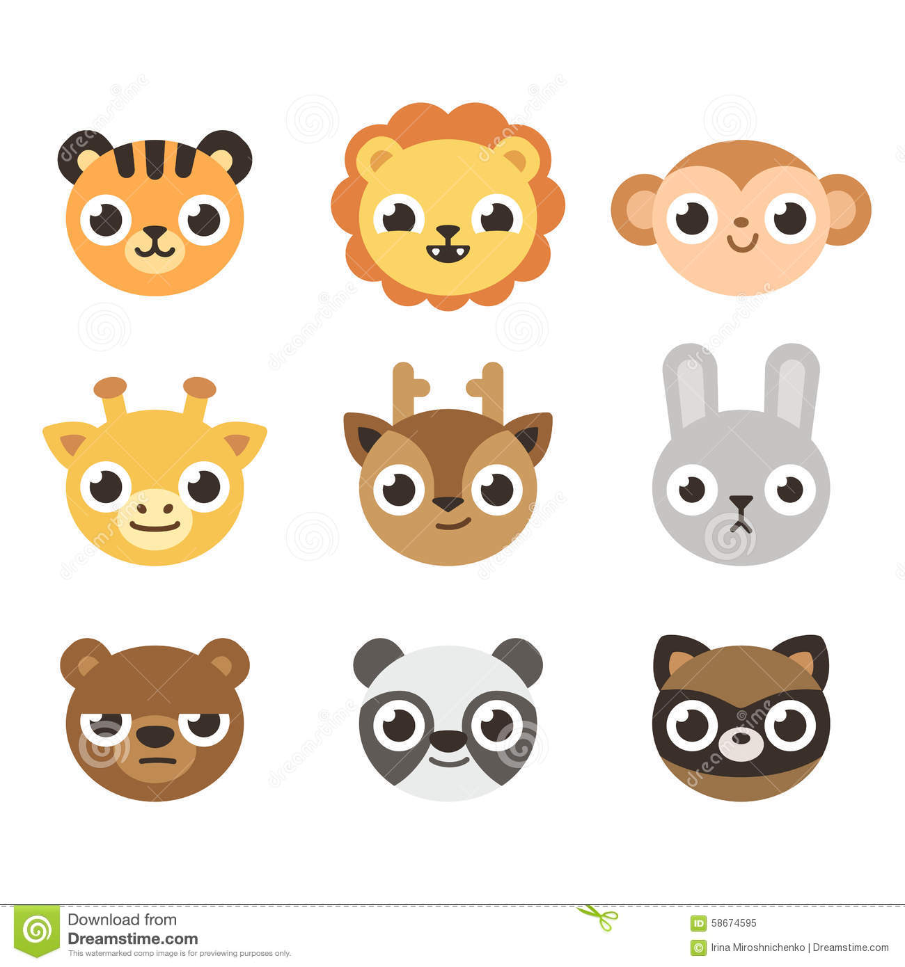Cute Cartoon Animal Faces Stock Vector Image 58674595