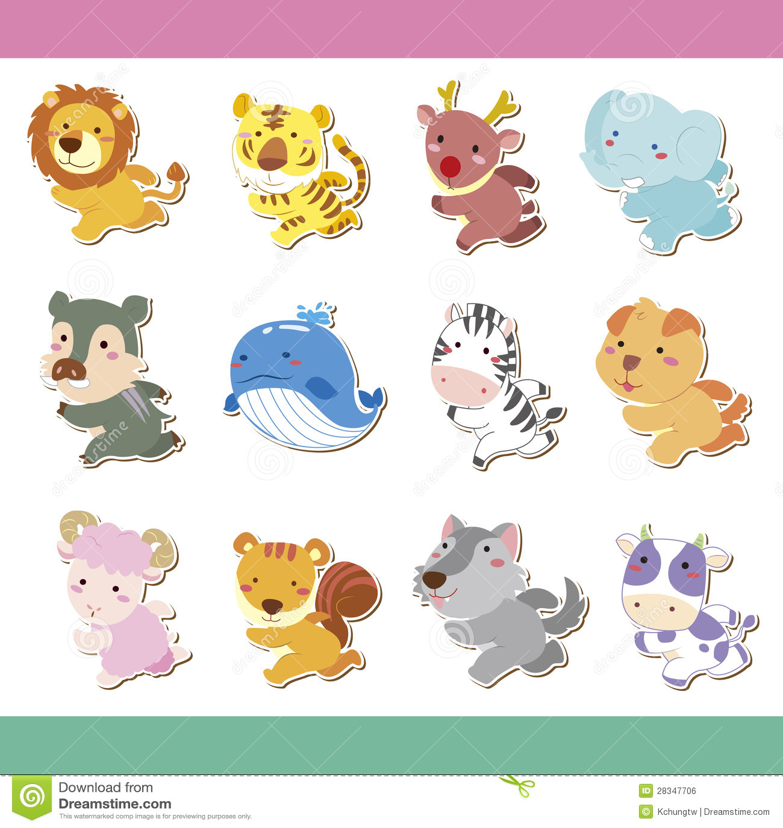 Cute Cartoon Animal Icon Set Stock Vector