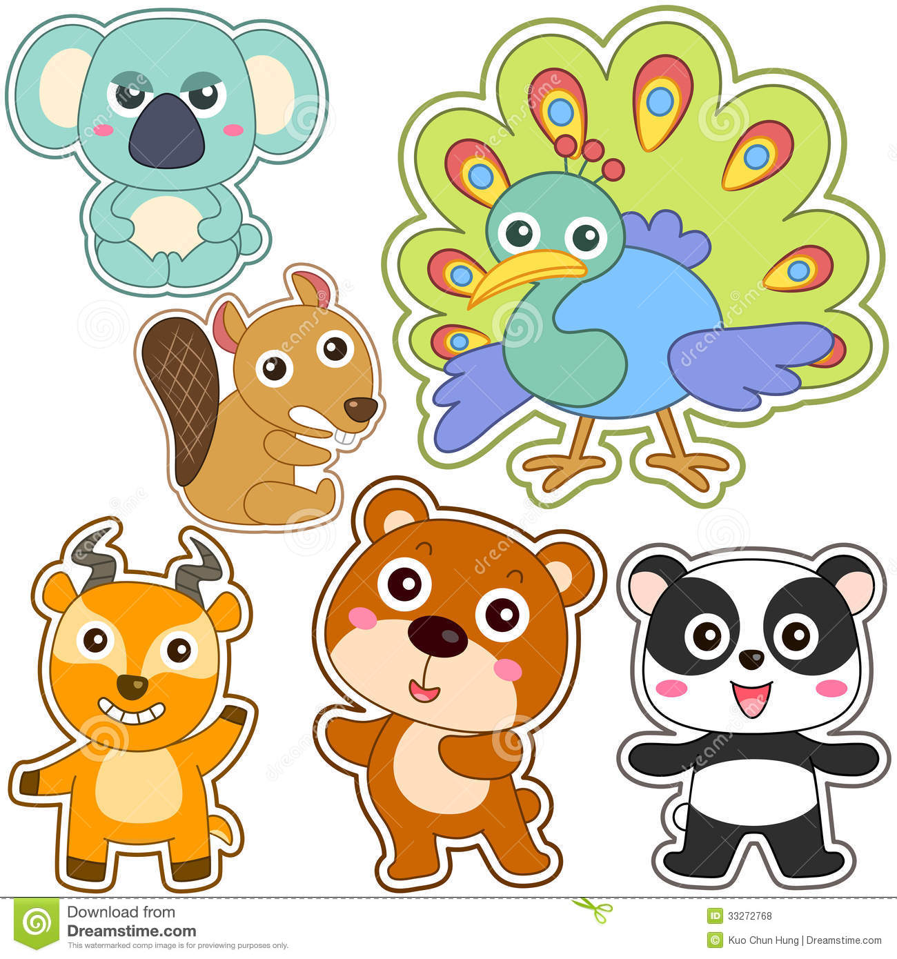 Cute cartoon animal set stock vector image of sitting 33272768 cute cartoon animal set voltagebd Gallery