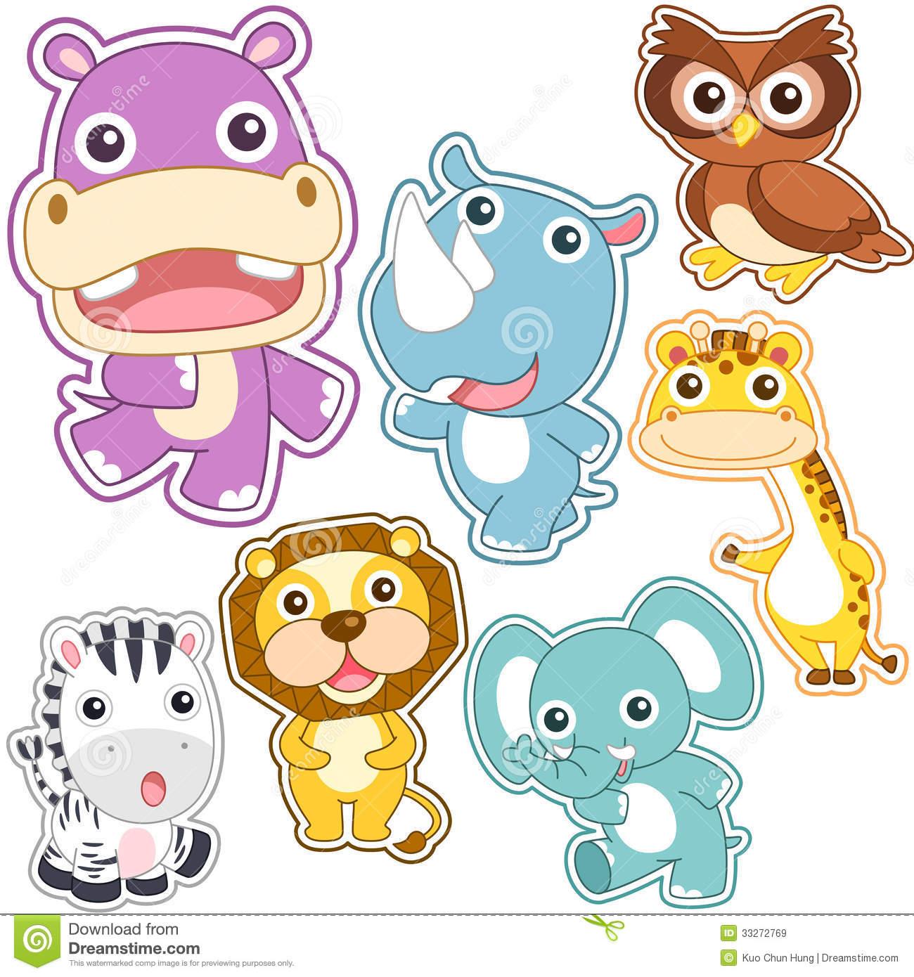 Cute cartoon animal set stock vector. Illustration of ...