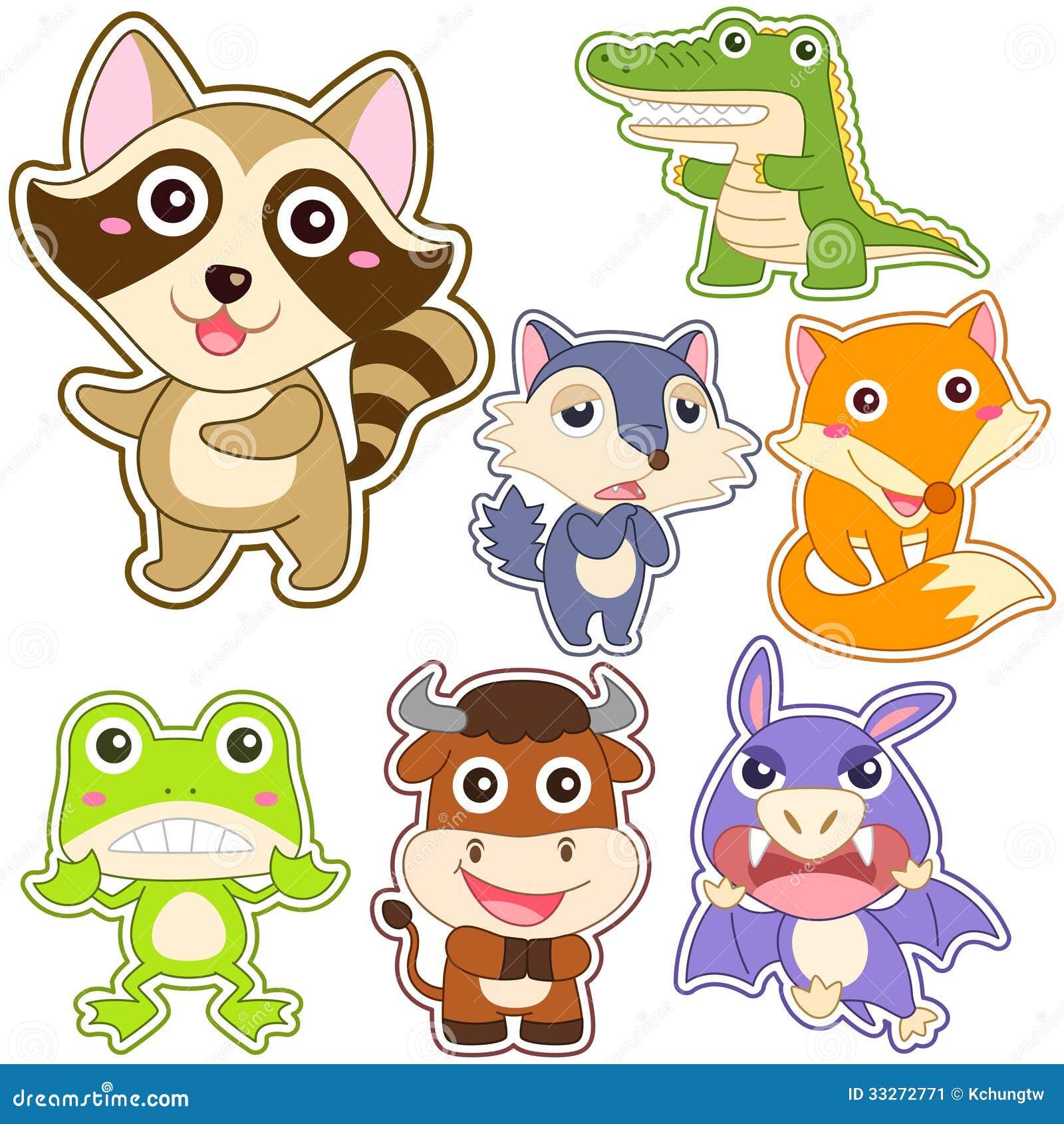 Cute Cartoon Animal Set Stock Image Image: 33272771