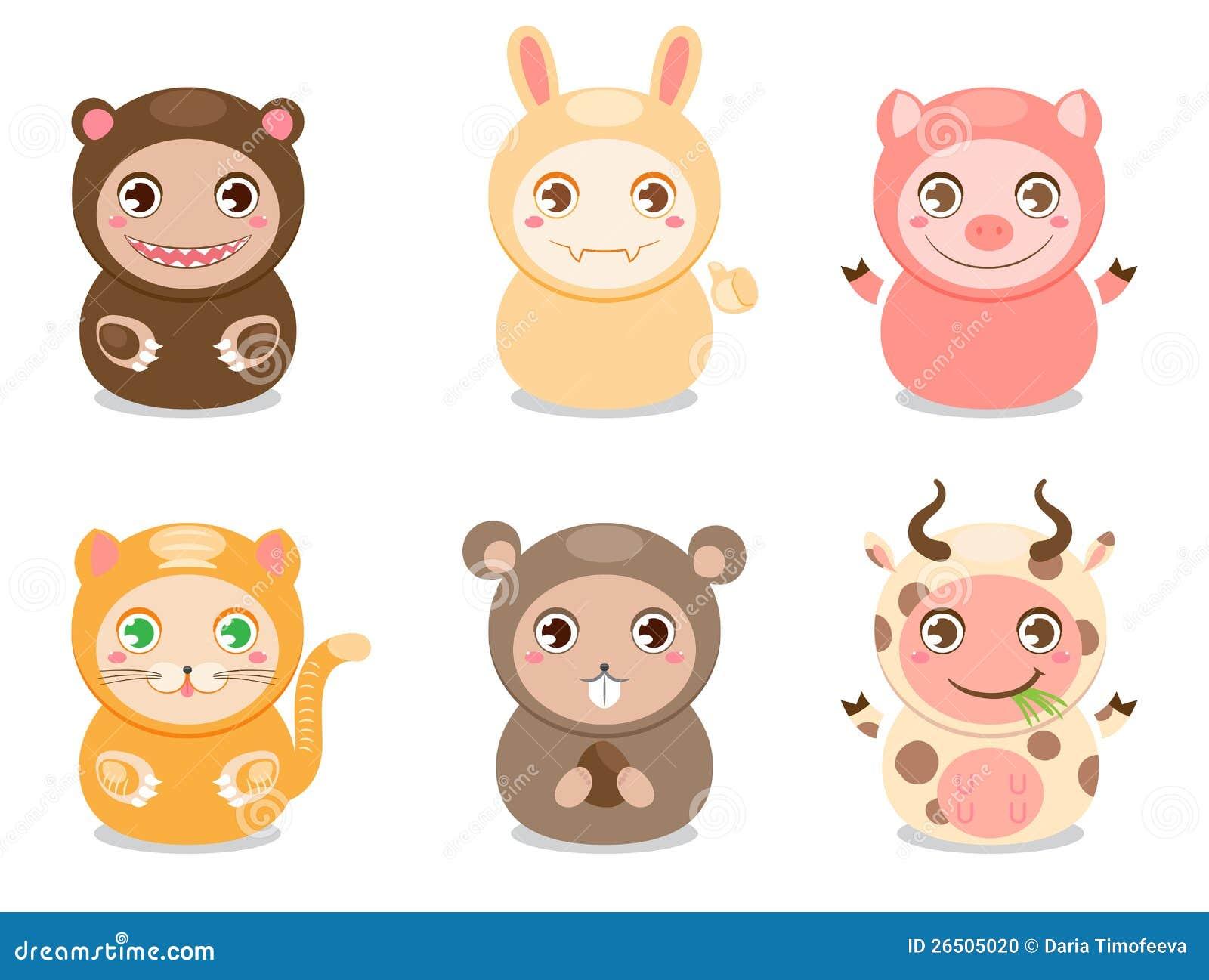 Cute Cartoon Animals Stock Photo Image 26505020