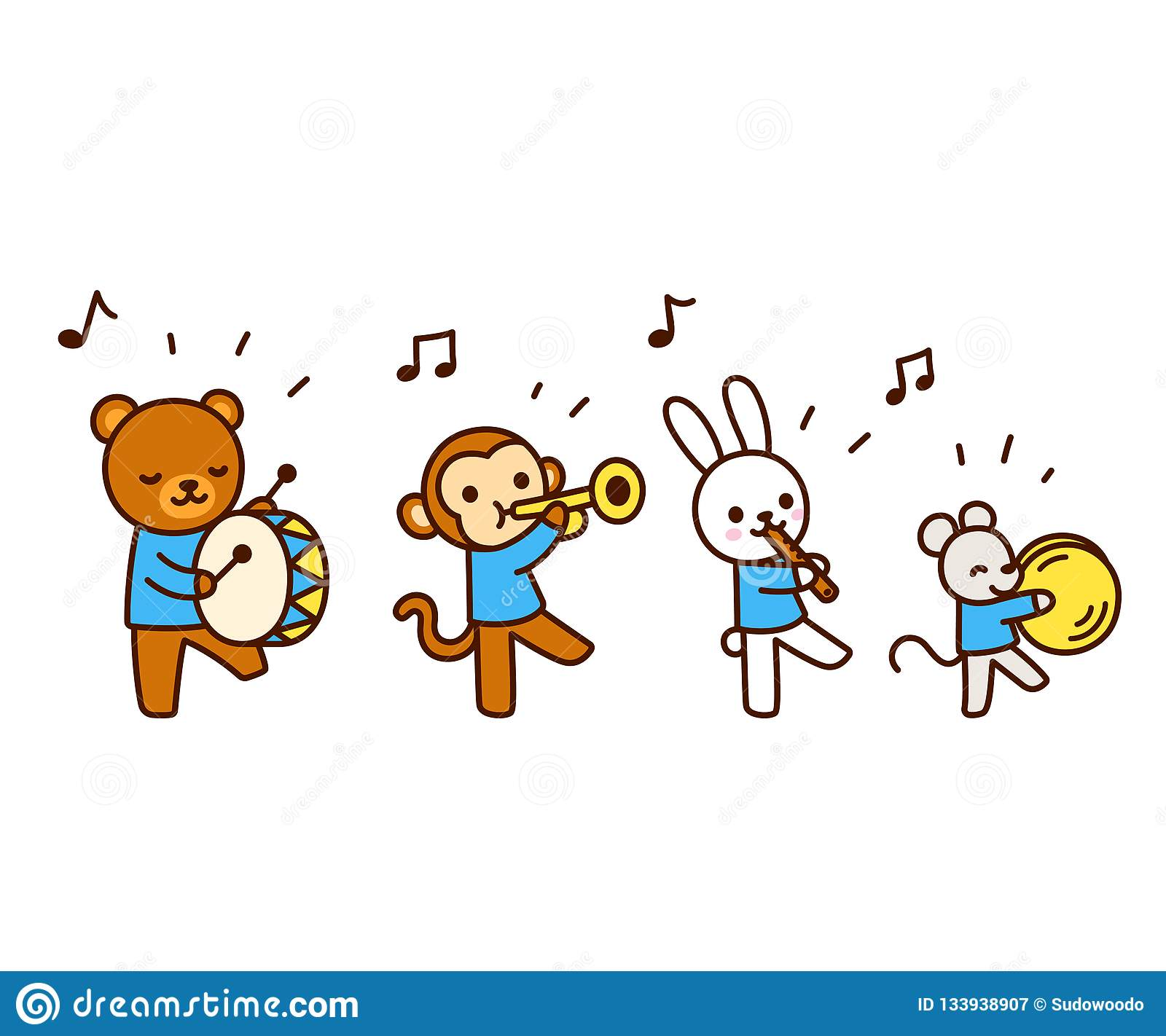 Image of: Cute Animals Cute Cartoon Animals Marching Band Drawing Kawaii Animal Characters Playing Music Isolated Vector Illustration Dreamstimecom Cute Cartoon Animals Playing Music Stock Vector Illustration Of