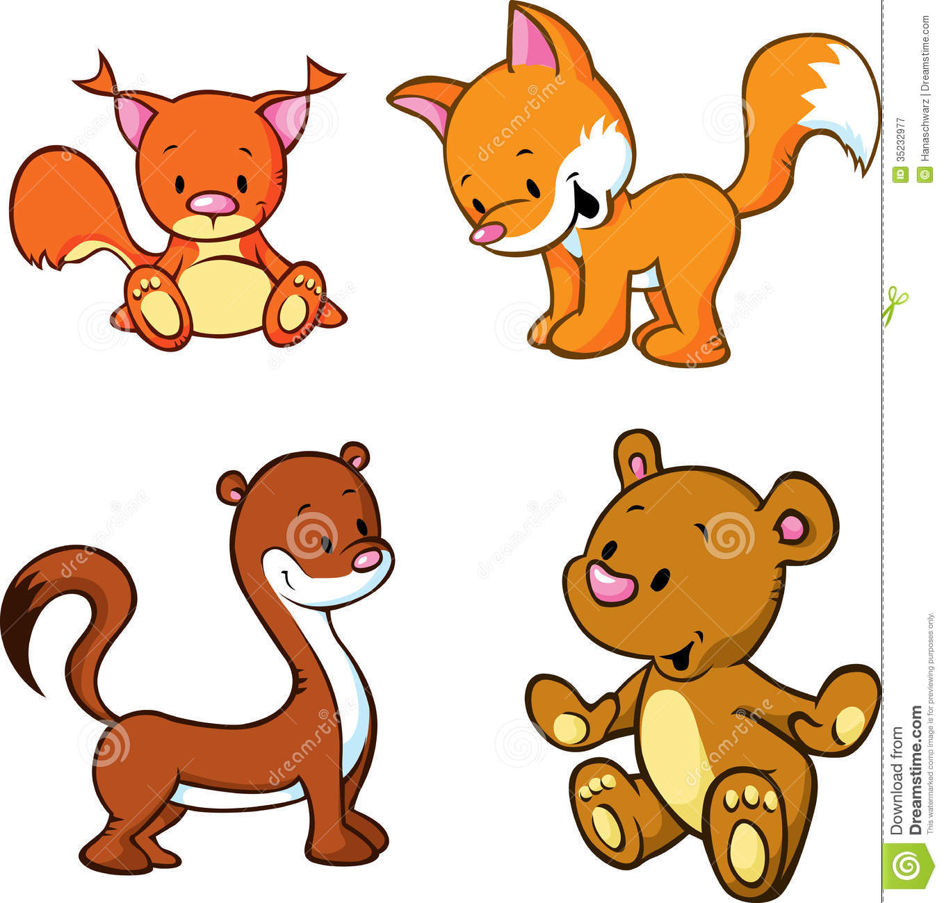 Cute cartoon animals stock vector image of adorable 35232977 cute cartoon animals voltagebd Gallery