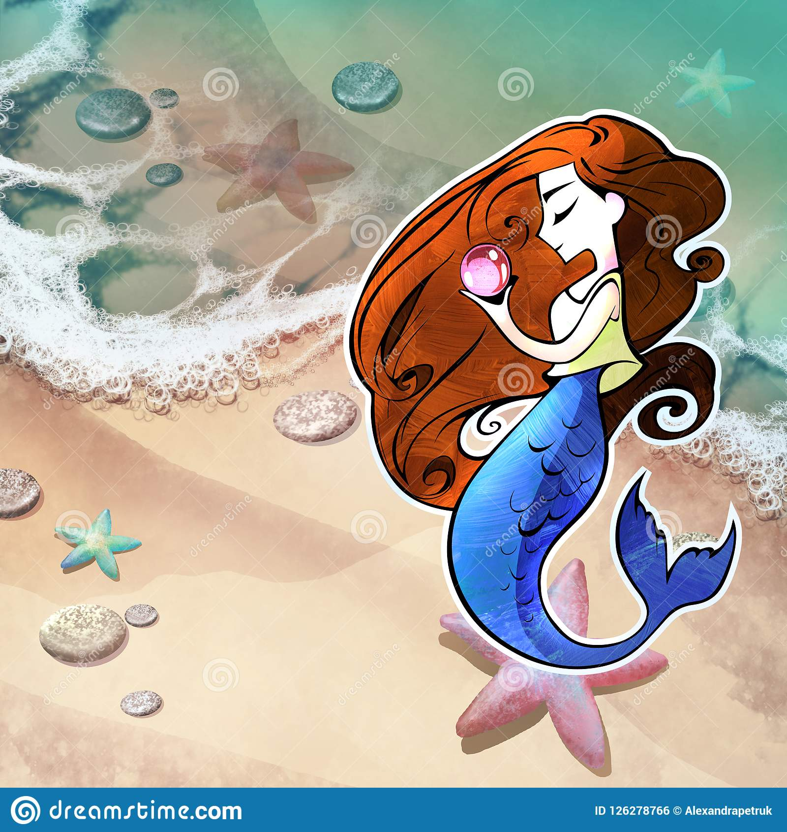 Beautiful Adorable Mermaid Girl With Long Red Hair Holding
