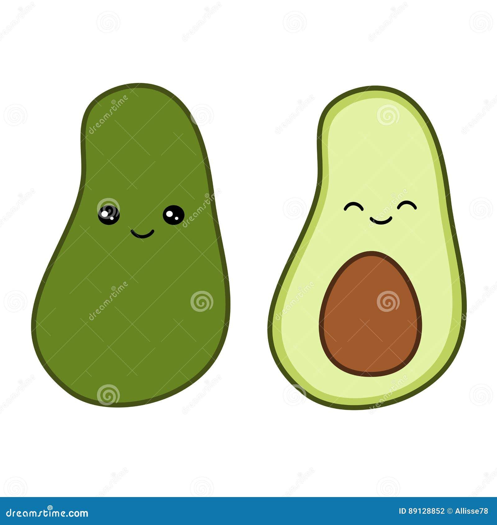 Cute Cartoon Avocado Illustration Isolated On White