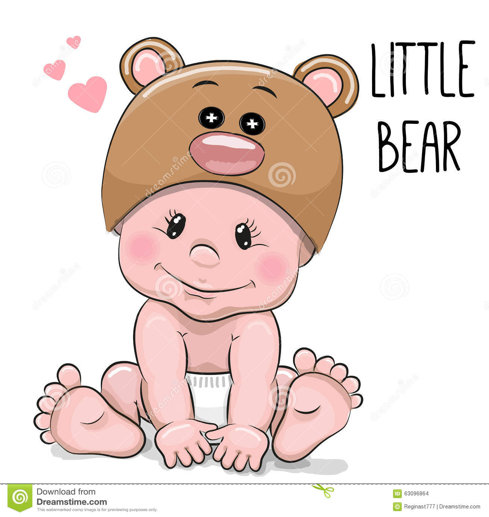 Cute Cartoon Baby boy in a Bear hat on a white background.