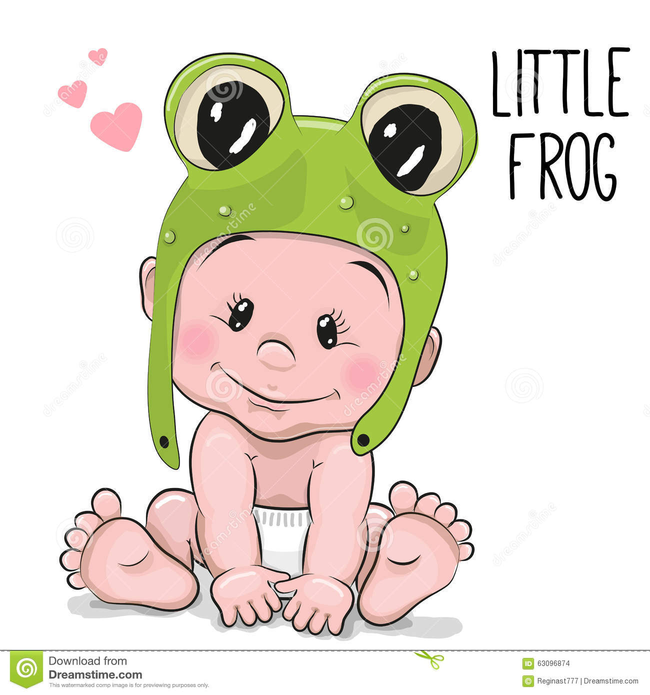 Cute Cartoon Baby boy in a frog hat on a white background.