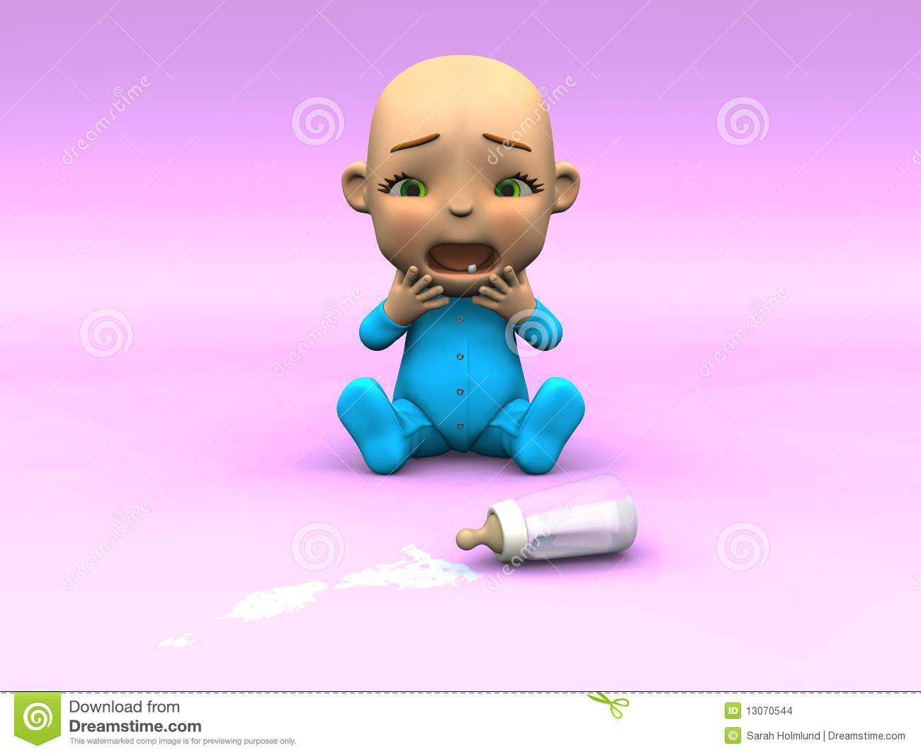 Car And Driver Subscription >> Cute Cartoon Baby Crying Over Spilt Milk. Stock Images ...