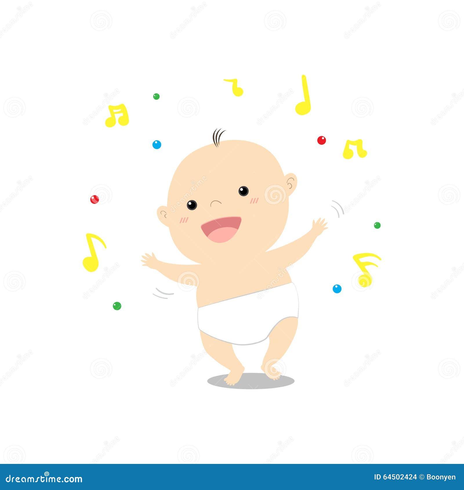 Dancing Babies Cute: Cute Cartoon Baby Dancing Happily Music Illustration Stock