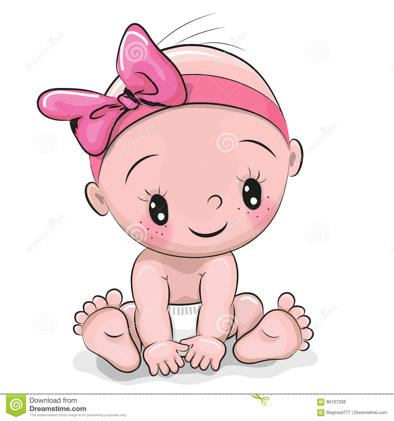 Cute cartoon baby girl stock vector illustration of isolated 86167208 cute cartoon baby girl voltagebd Image collections